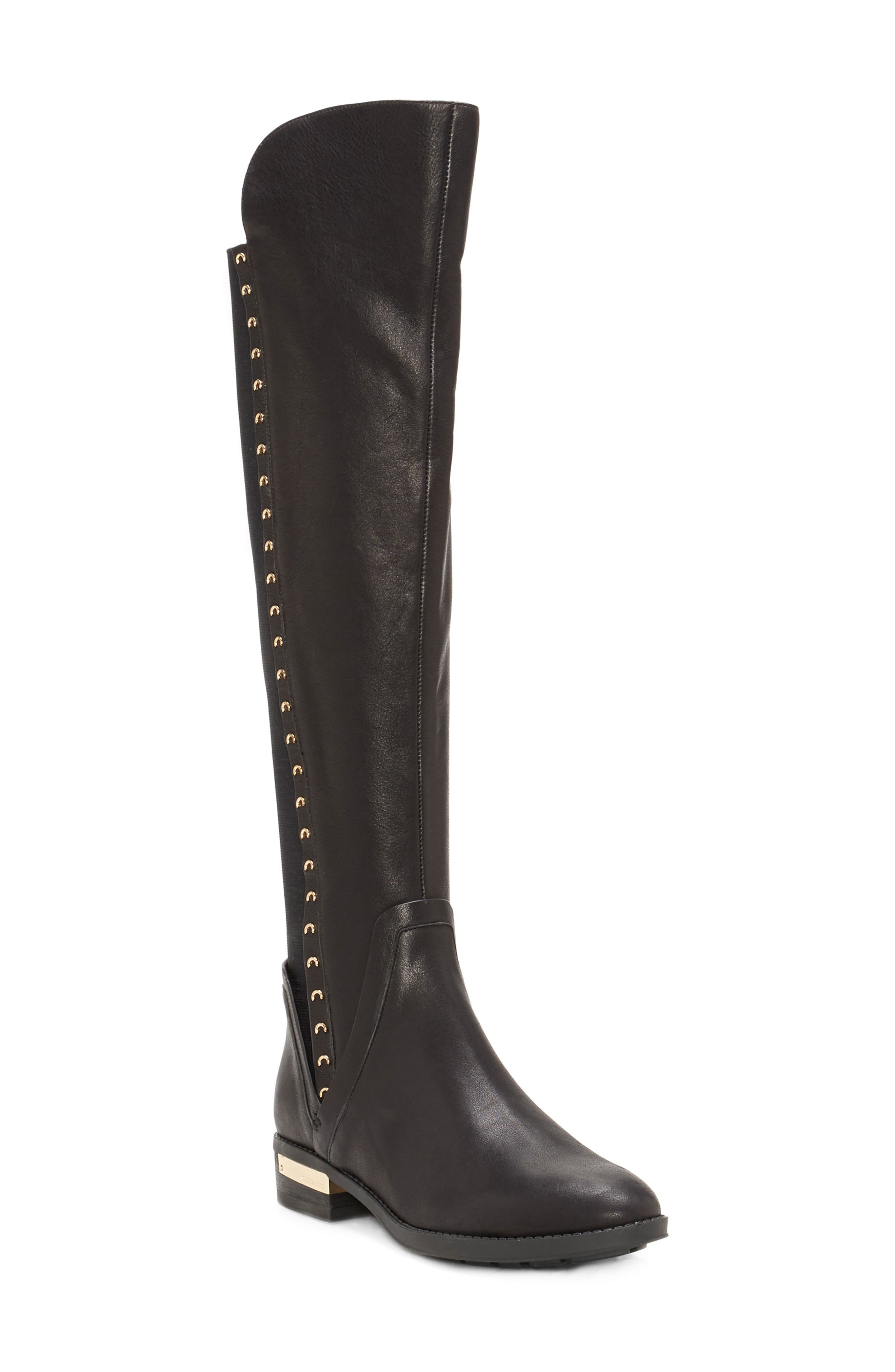 Pardonal Over-the-Knee Boot,                         Main,                         color, BLACK LEATHER