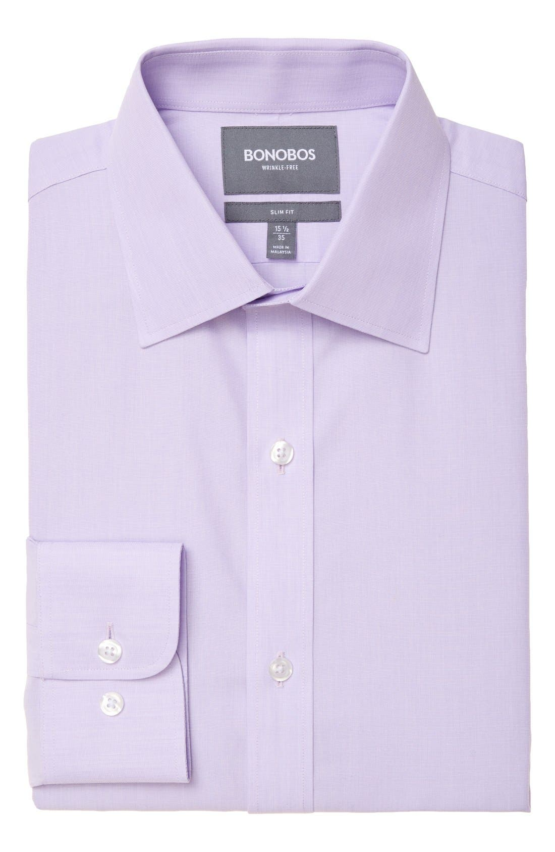 Slim Fit Wrinkle Free Solid Dress Shirt,                             Main thumbnail 1, color,                             PALE LILAC