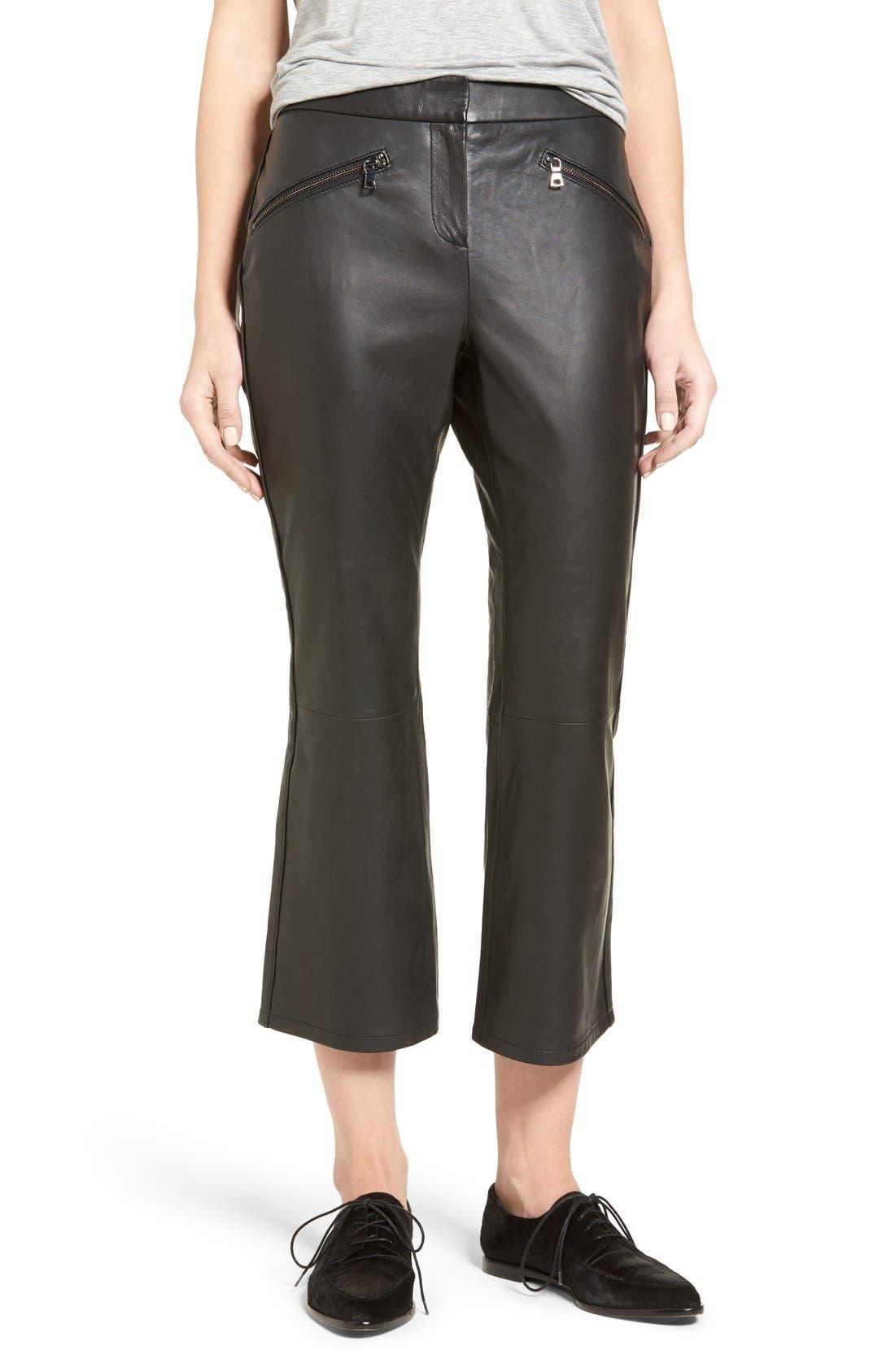Crop Flare Leather Pants,                             Alternate thumbnail 10, color,                             001