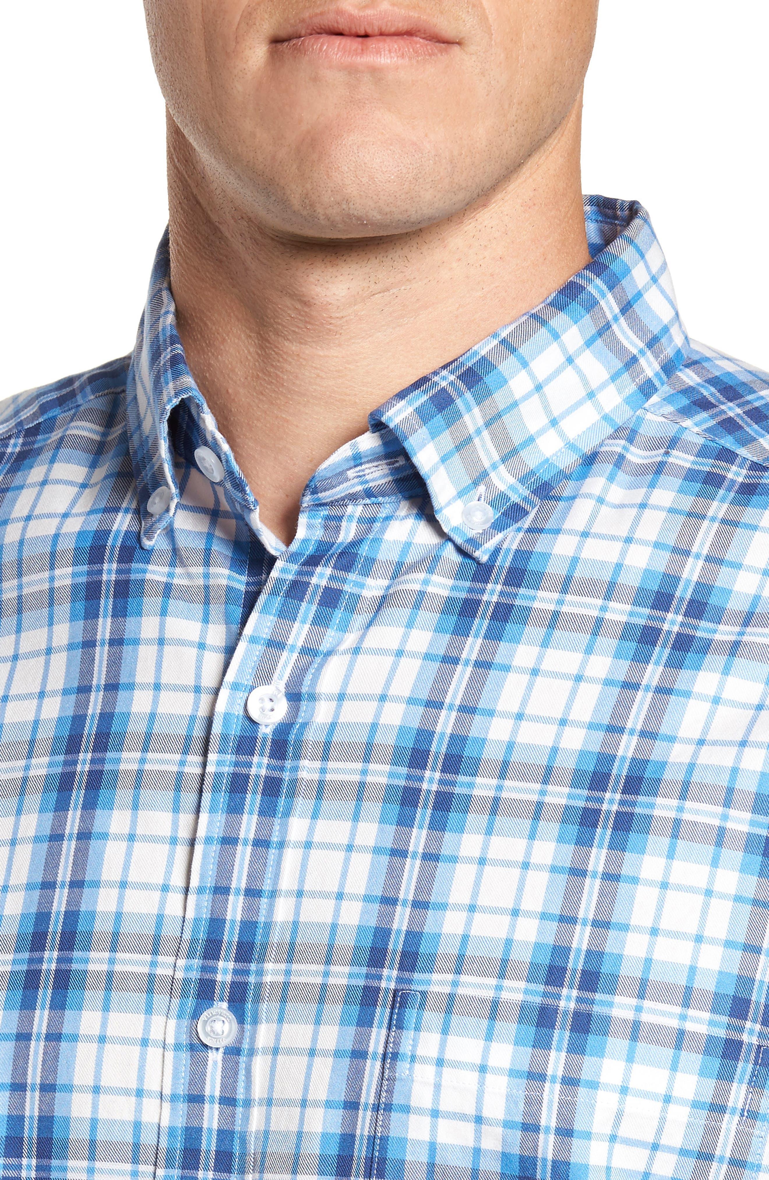 Shore Town Classic Fit Plaid Sport Shirt,                             Alternate thumbnail 4, color,