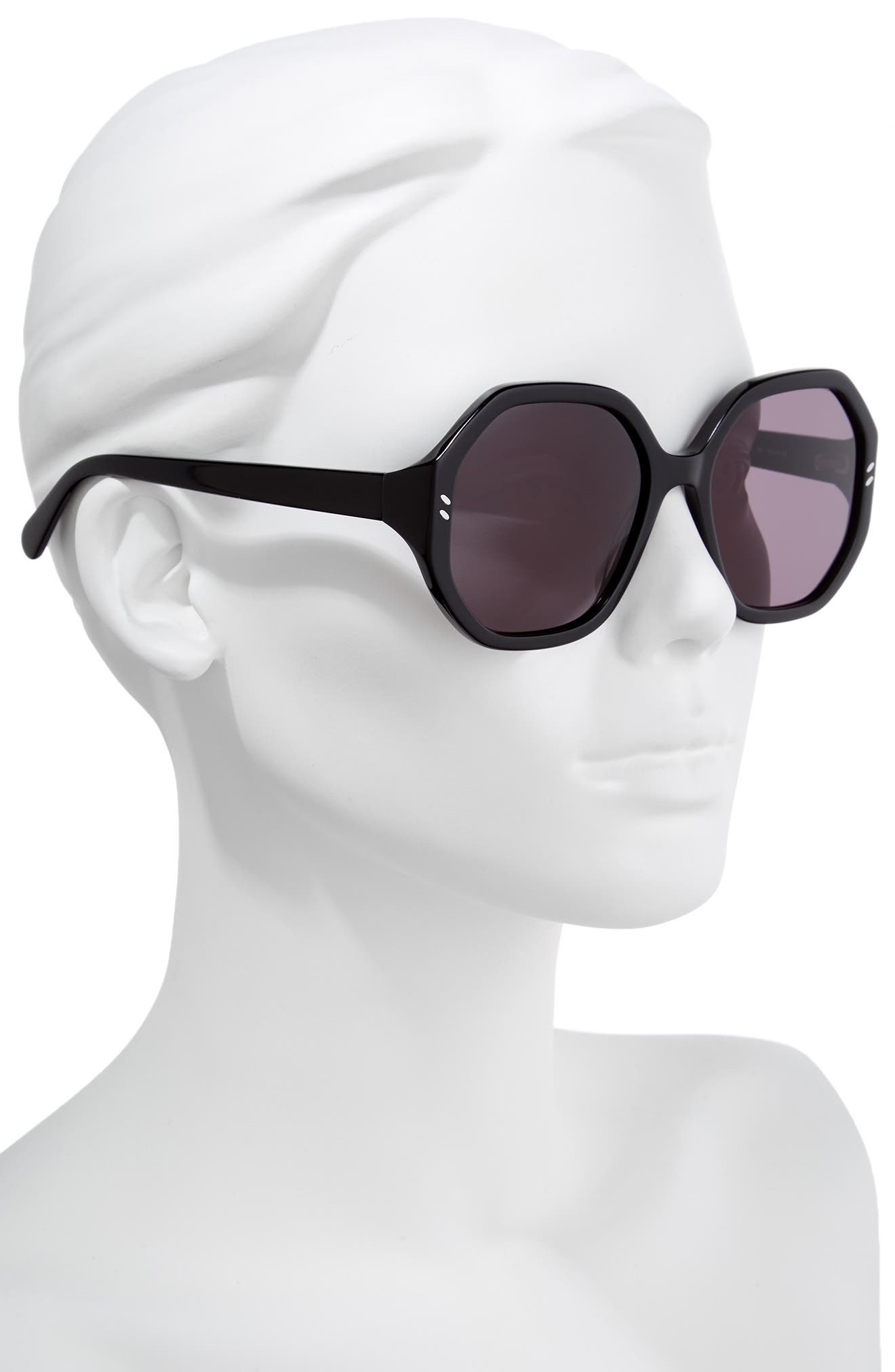 56mm Hexagonal Sunglasses,                             Alternate thumbnail 2, color,                             BLACK