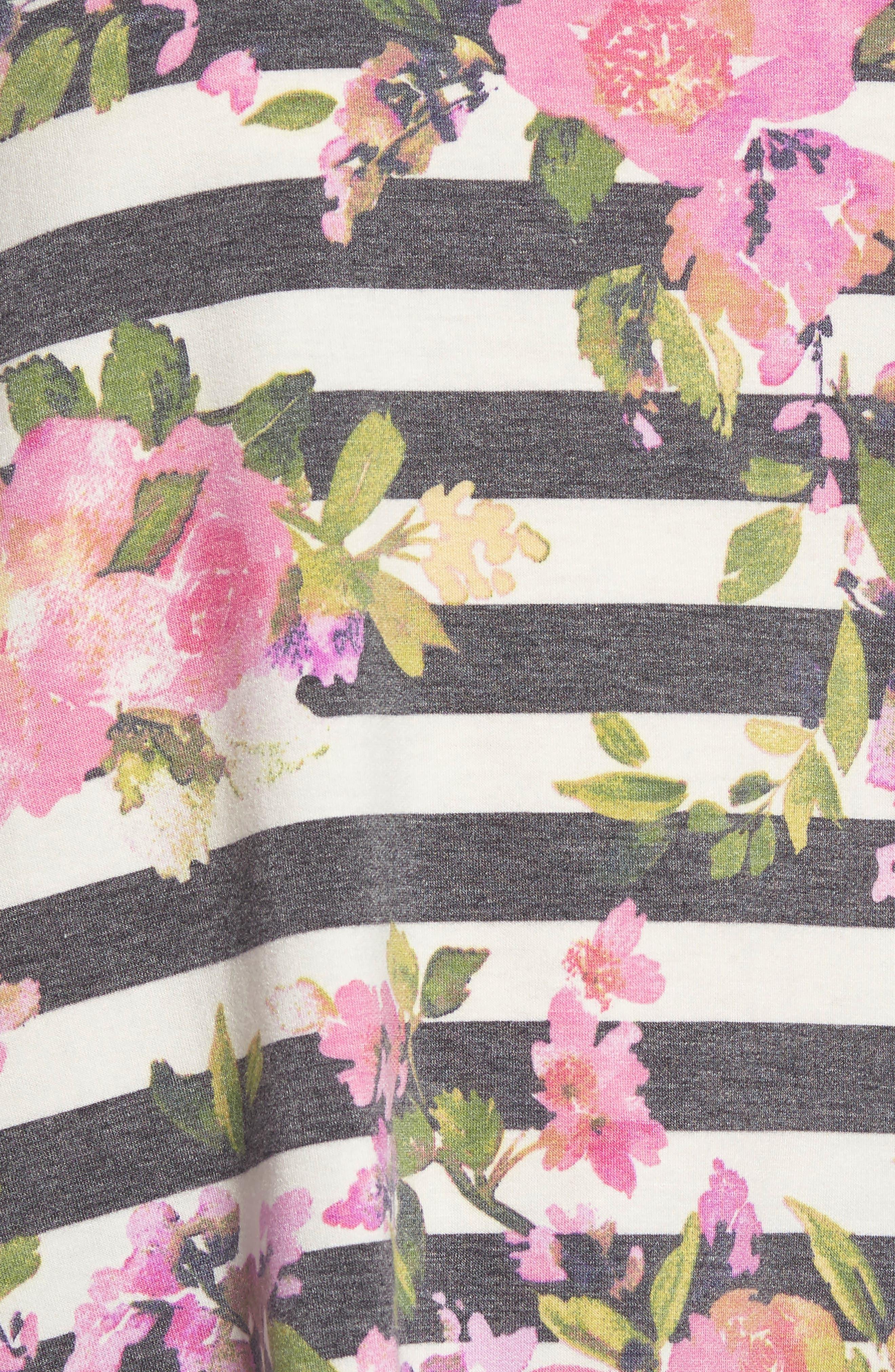 Floral Print Balloon Sleeve Sweatshirt,                             Alternate thumbnail 5, color,                             002