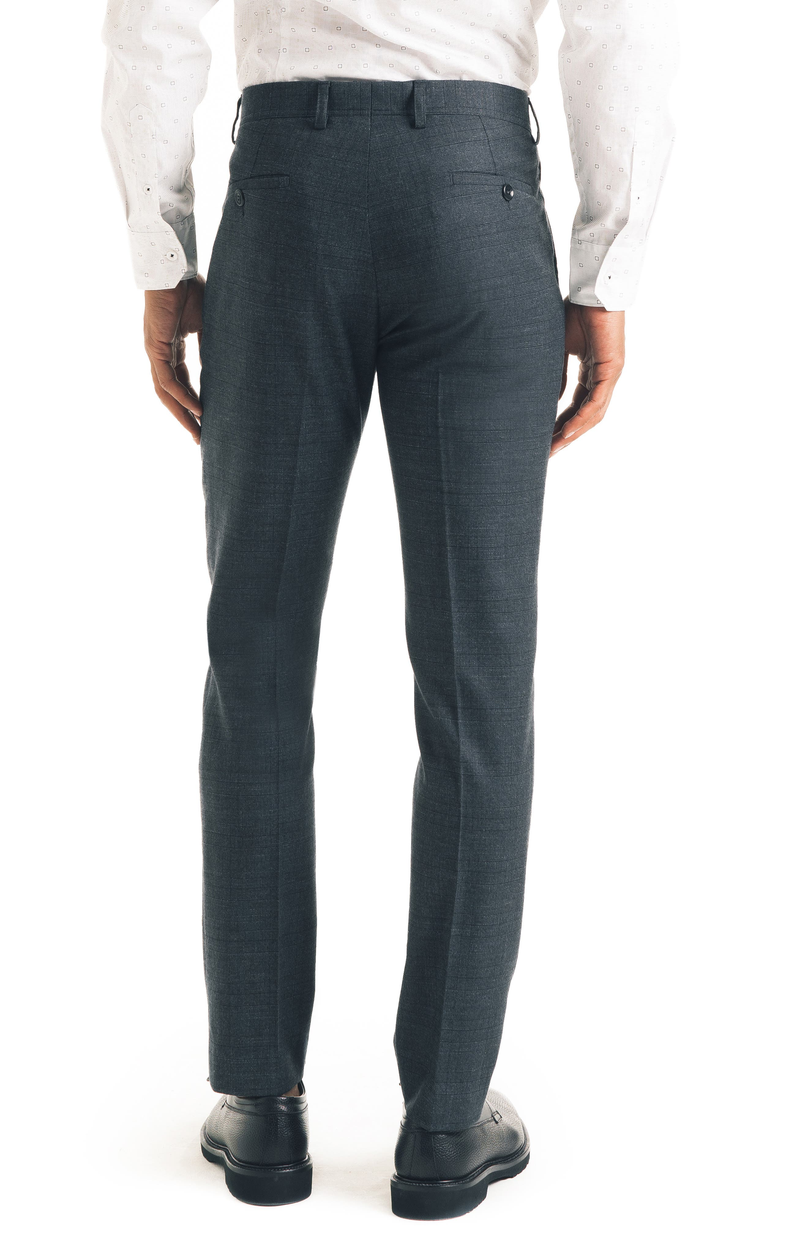 Flat Front Stretch Wool Blend Trousers,                             Alternate thumbnail 2, color,                             CHARCOAL
