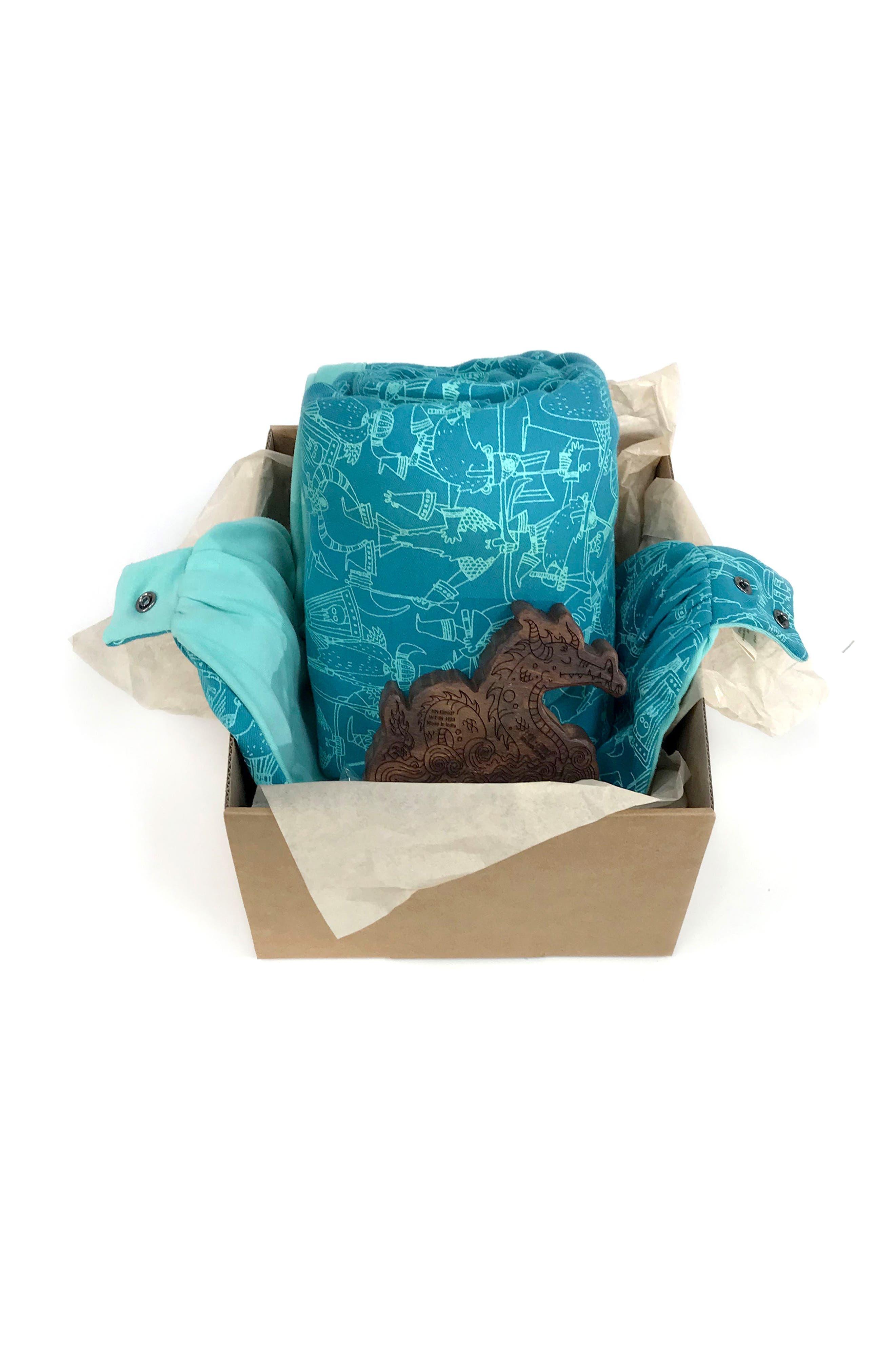 Organic Cotton Blanket, Bib & Hardwood Rattle Set,                             Alternate thumbnail 3, color,                             440