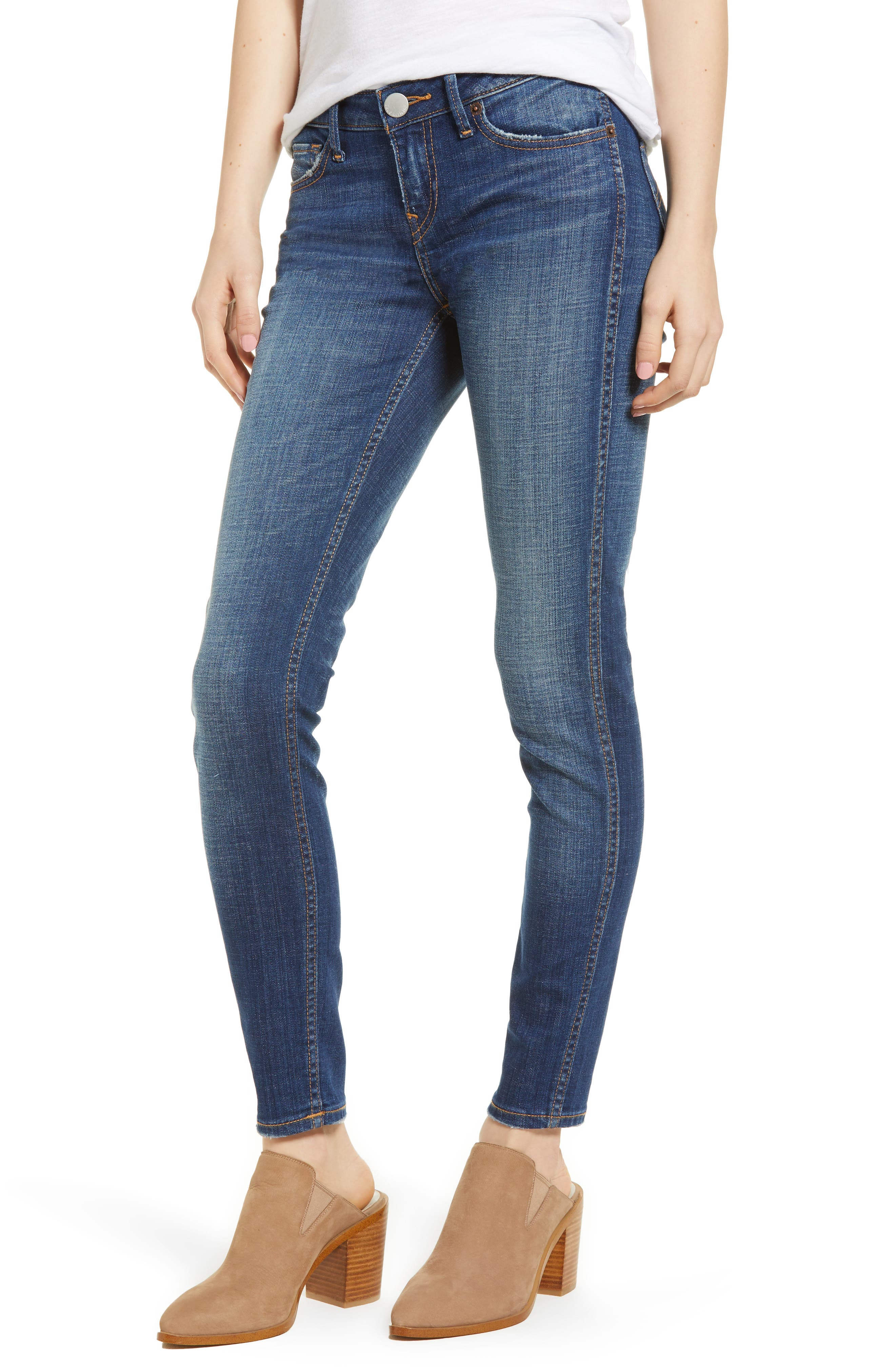 Halle Mid Rise Super Skinny Jeans,                             Main thumbnail 1, color,                             401