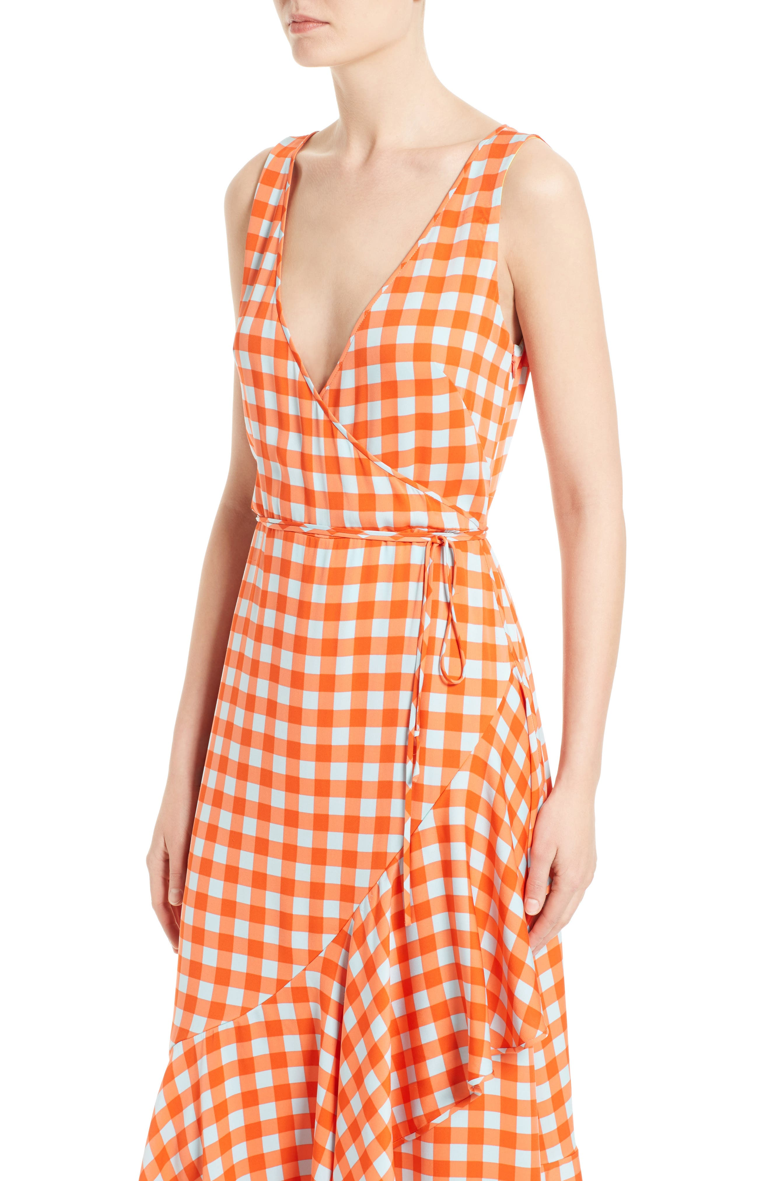 Check Ruffle Hem Wrap Dress,                             Alternate thumbnail 4, color,