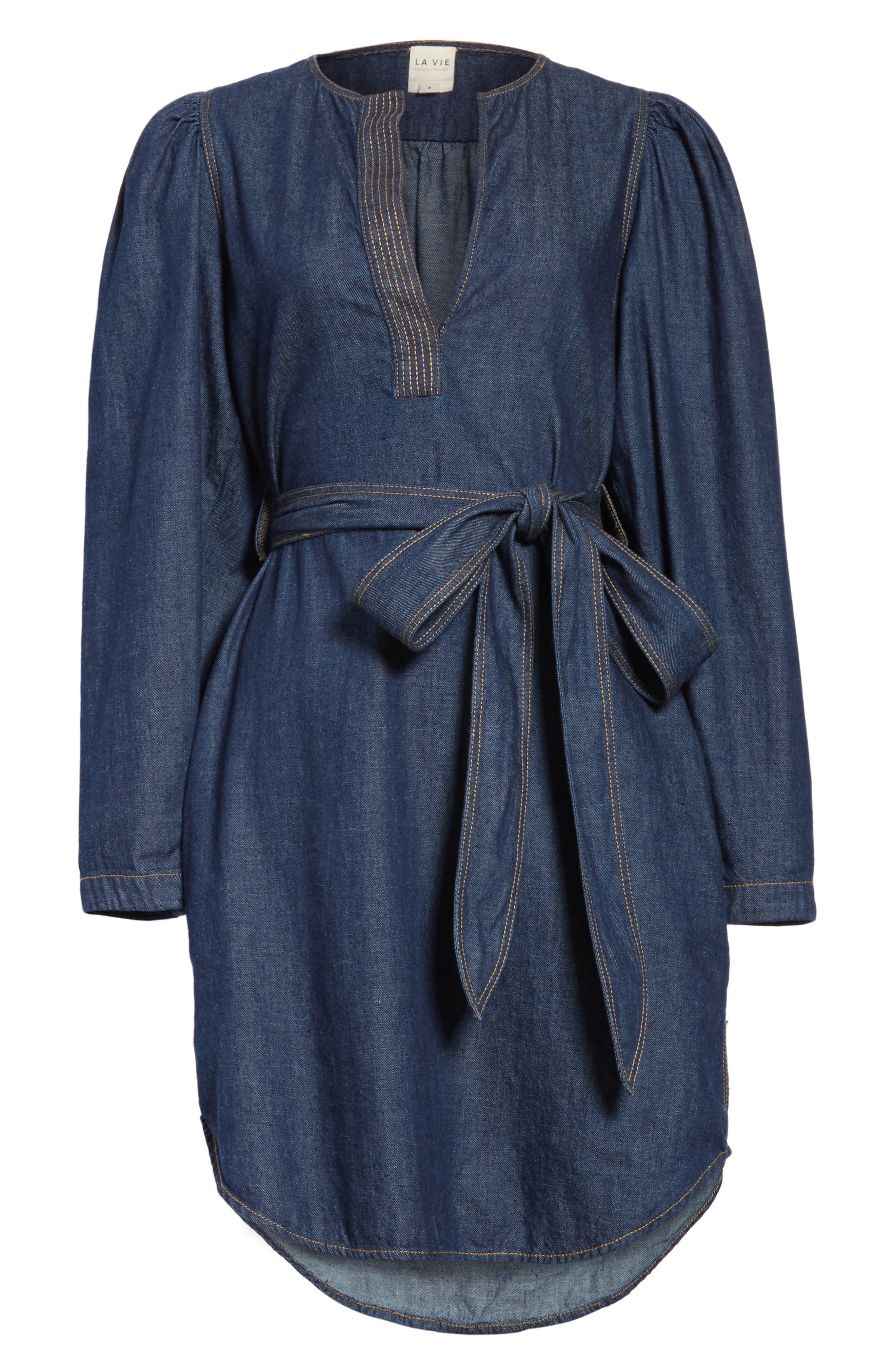 Belted Denim Dress,                             Alternate thumbnail 6, color,                             409