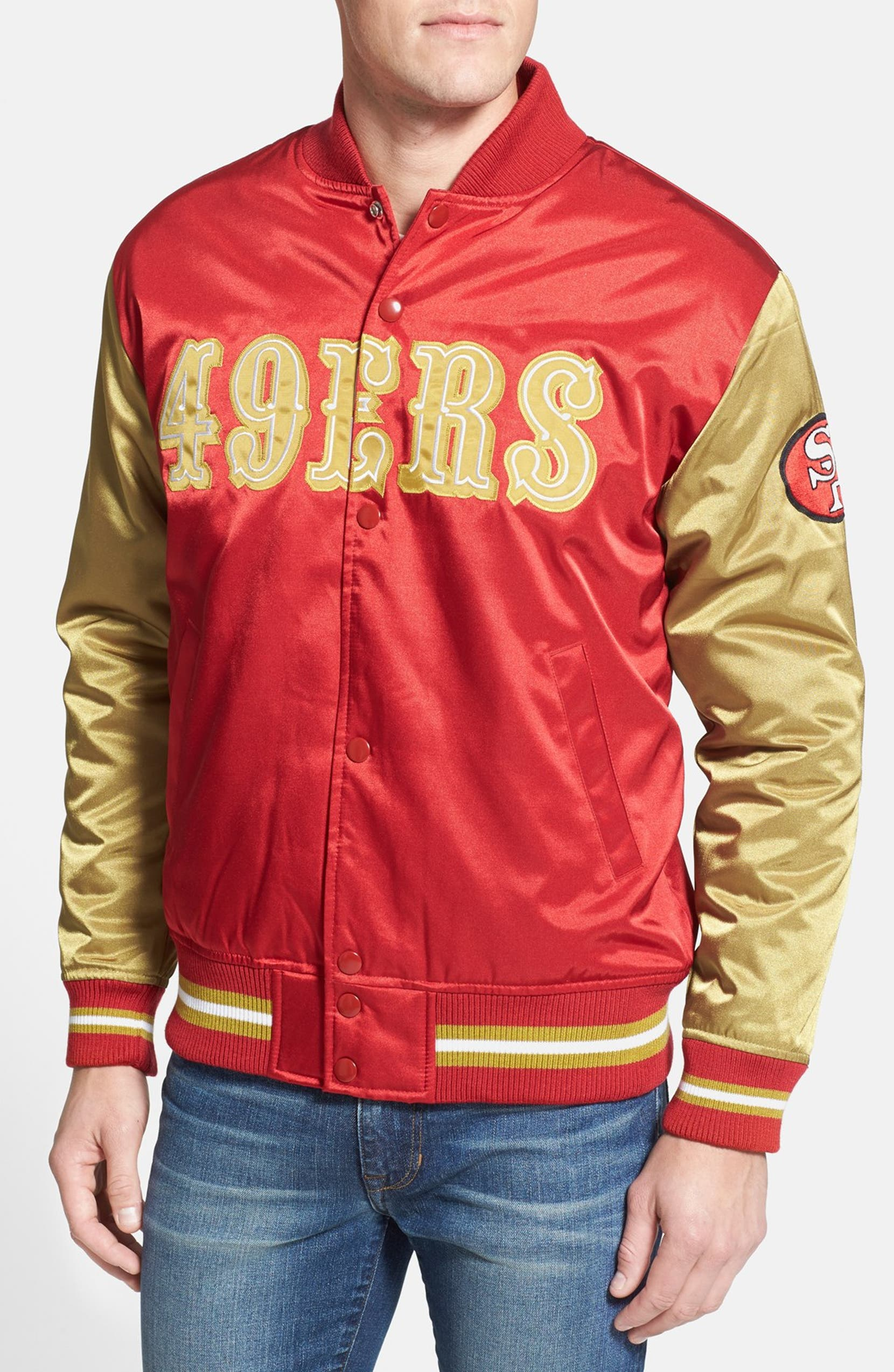 Mitchell   Ness  San Francisco 49ers  Colorblock Satin Jacket ... 815a76abcc43