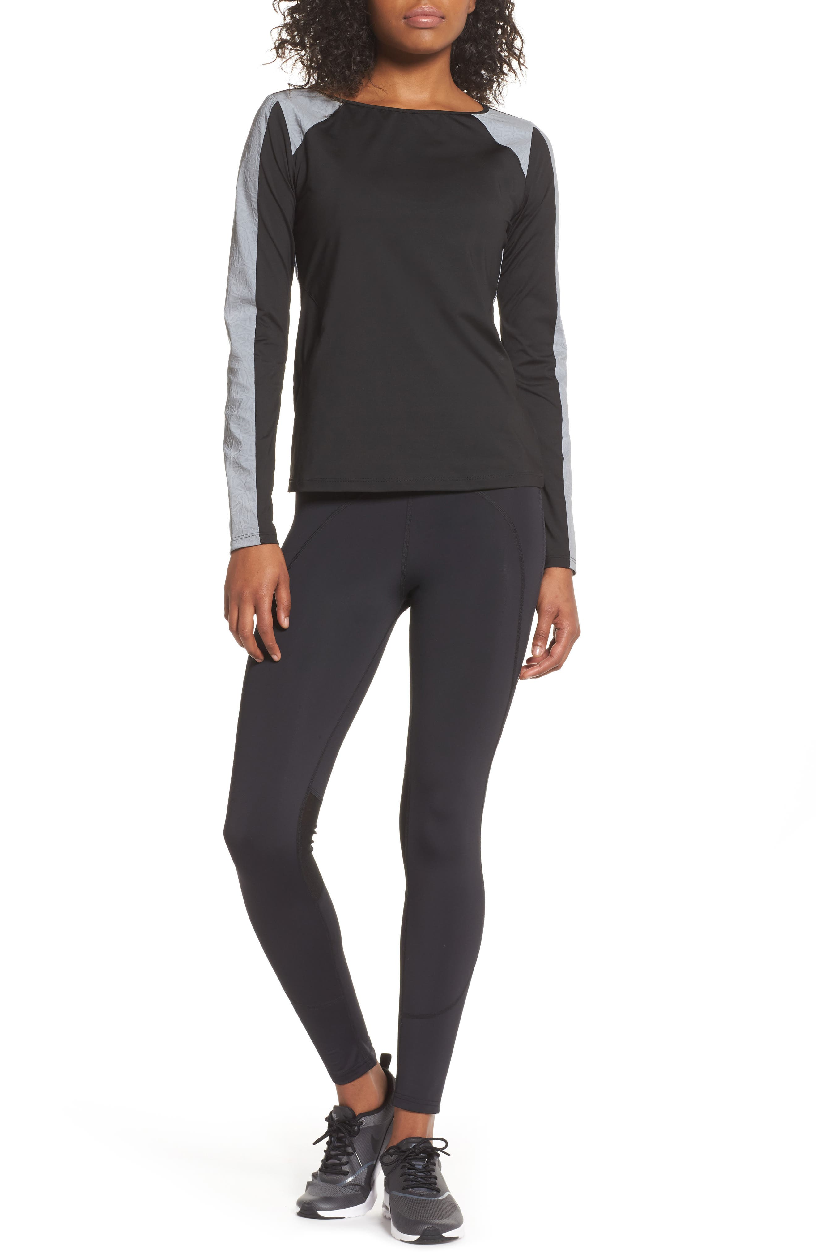 BoomBoom Athletica Reflective Body-Con Long Sleeve Tee,                             Alternate thumbnail 8, color,                             005