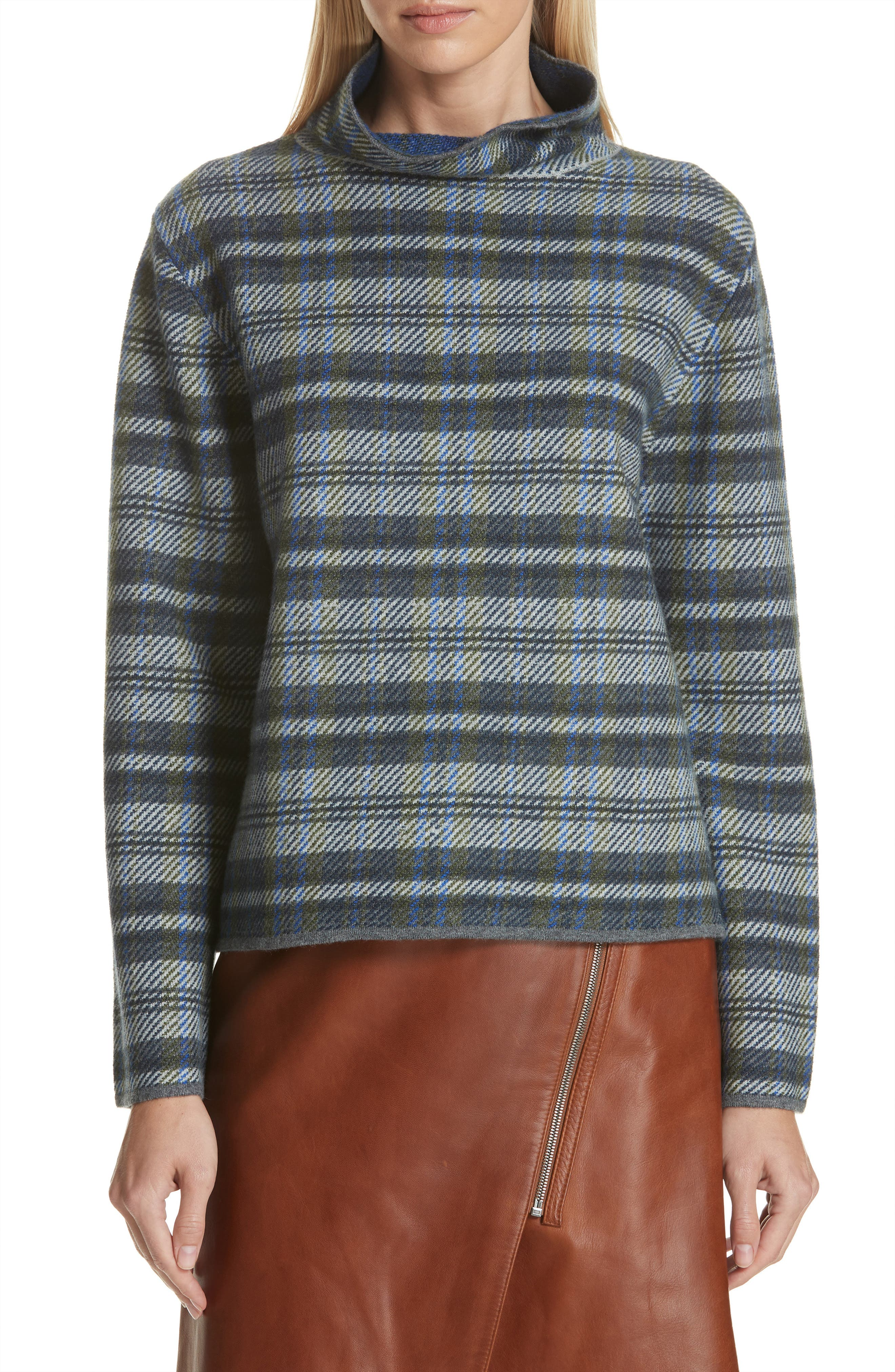 Nordstrom Signature Funnel Neck Plaid Cashmere Blend Sweater, Blue