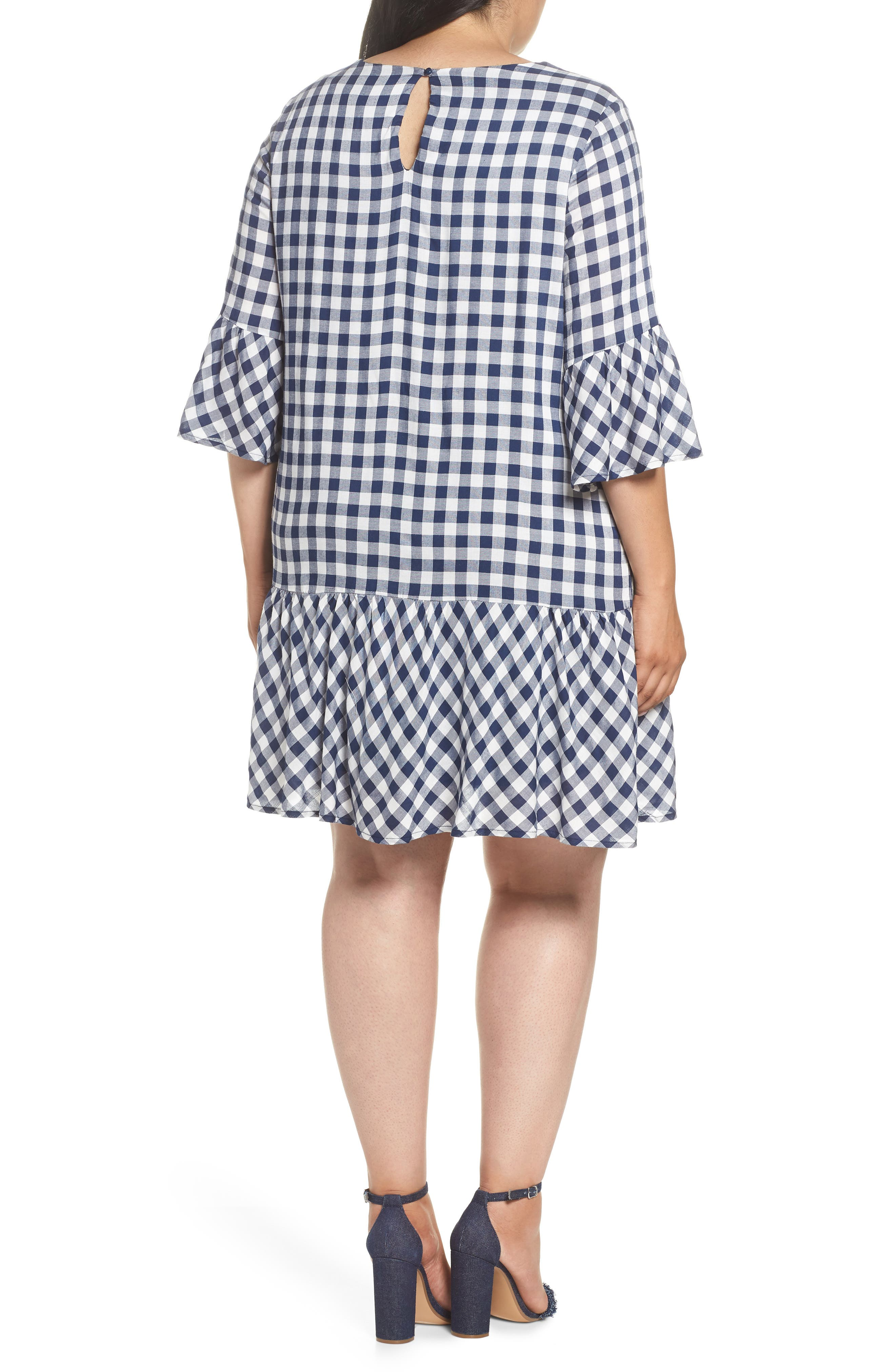 Embroidered Check Shift Dress,                             Alternate thumbnail 2, color,                             411