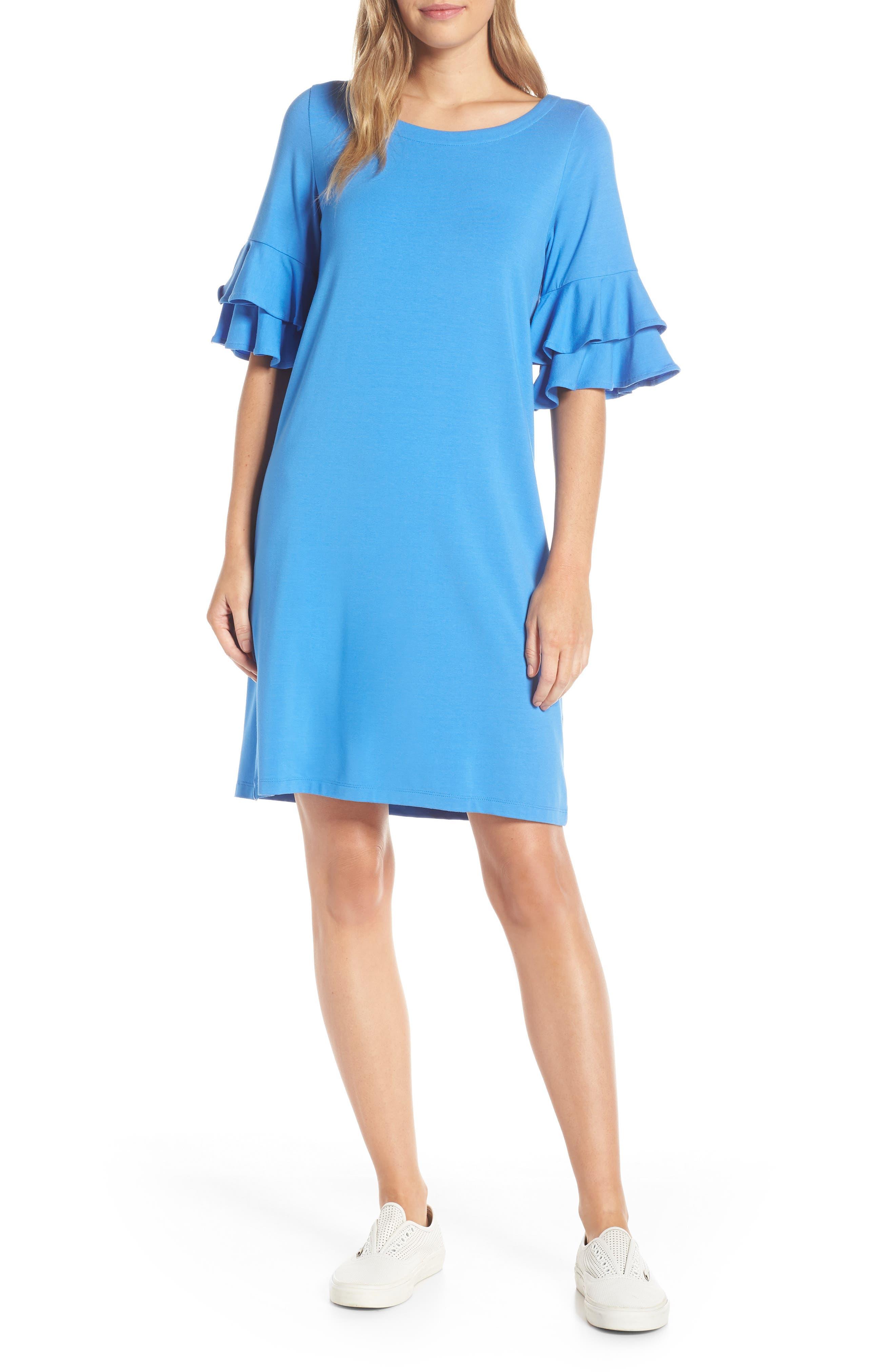 Lilly Pulitzer Lula Ruffle Sleeve Shift Dress, Blue