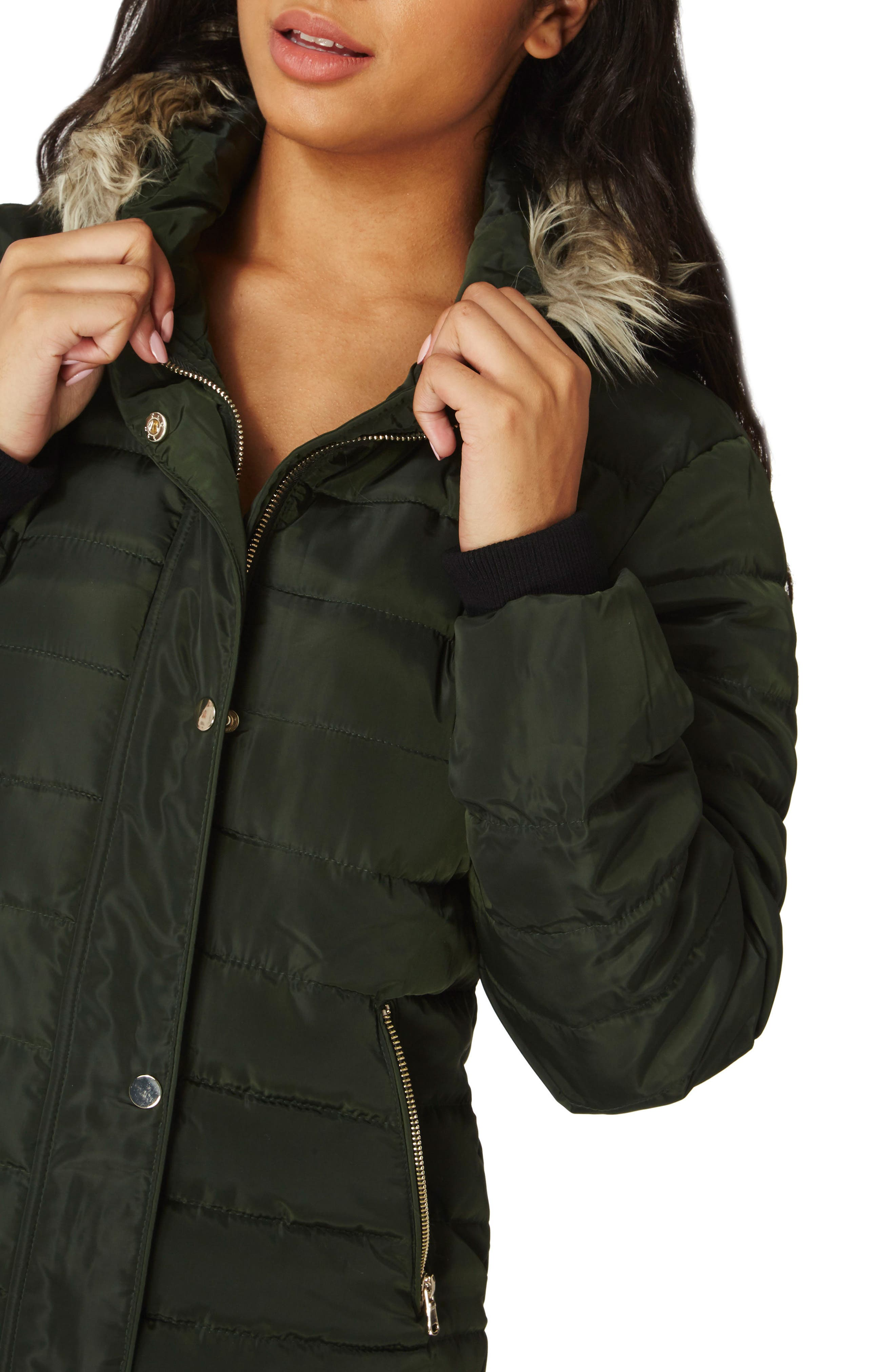 Hooded Faux Fur Puffer Jacket,                             Alternate thumbnail 4, color,                             300