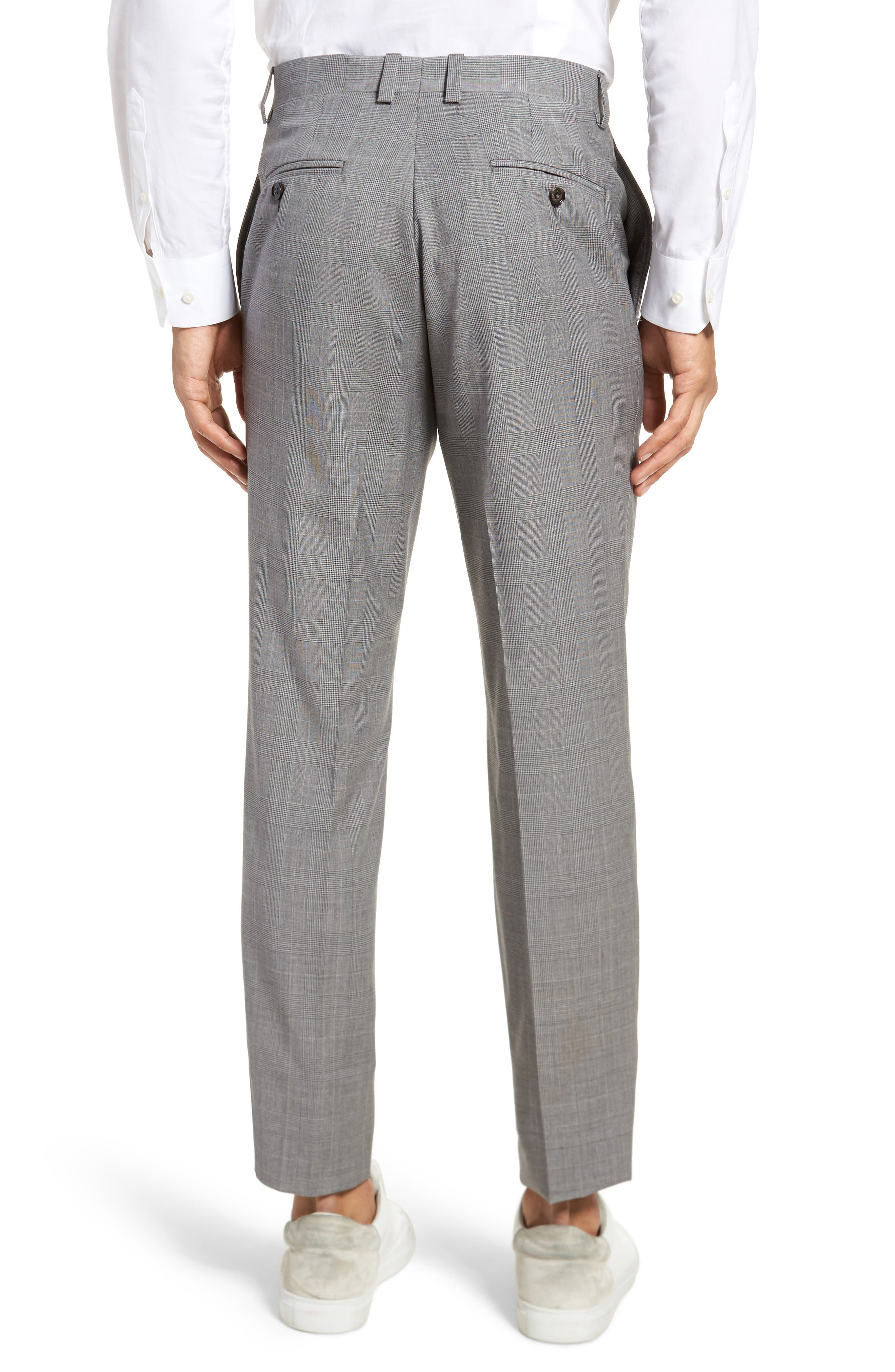 Jefferson Flat Front Check Wool Trousers,                             Alternate thumbnail 5, color,