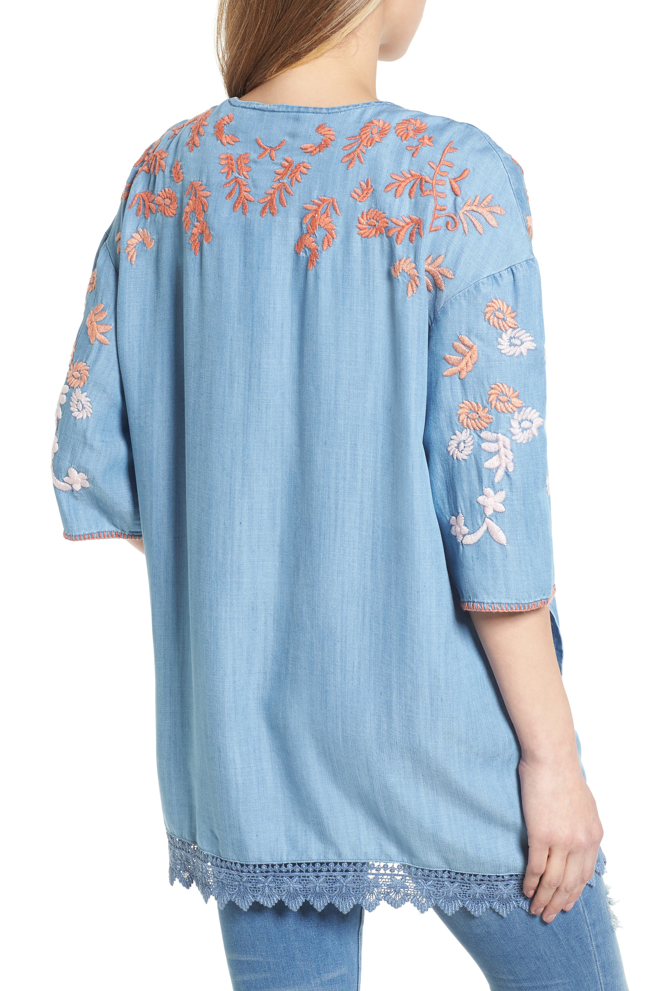 Embroidered Chambray Kimono,                             Alternate thumbnail 2, color,                             BLUE EMBROIDER