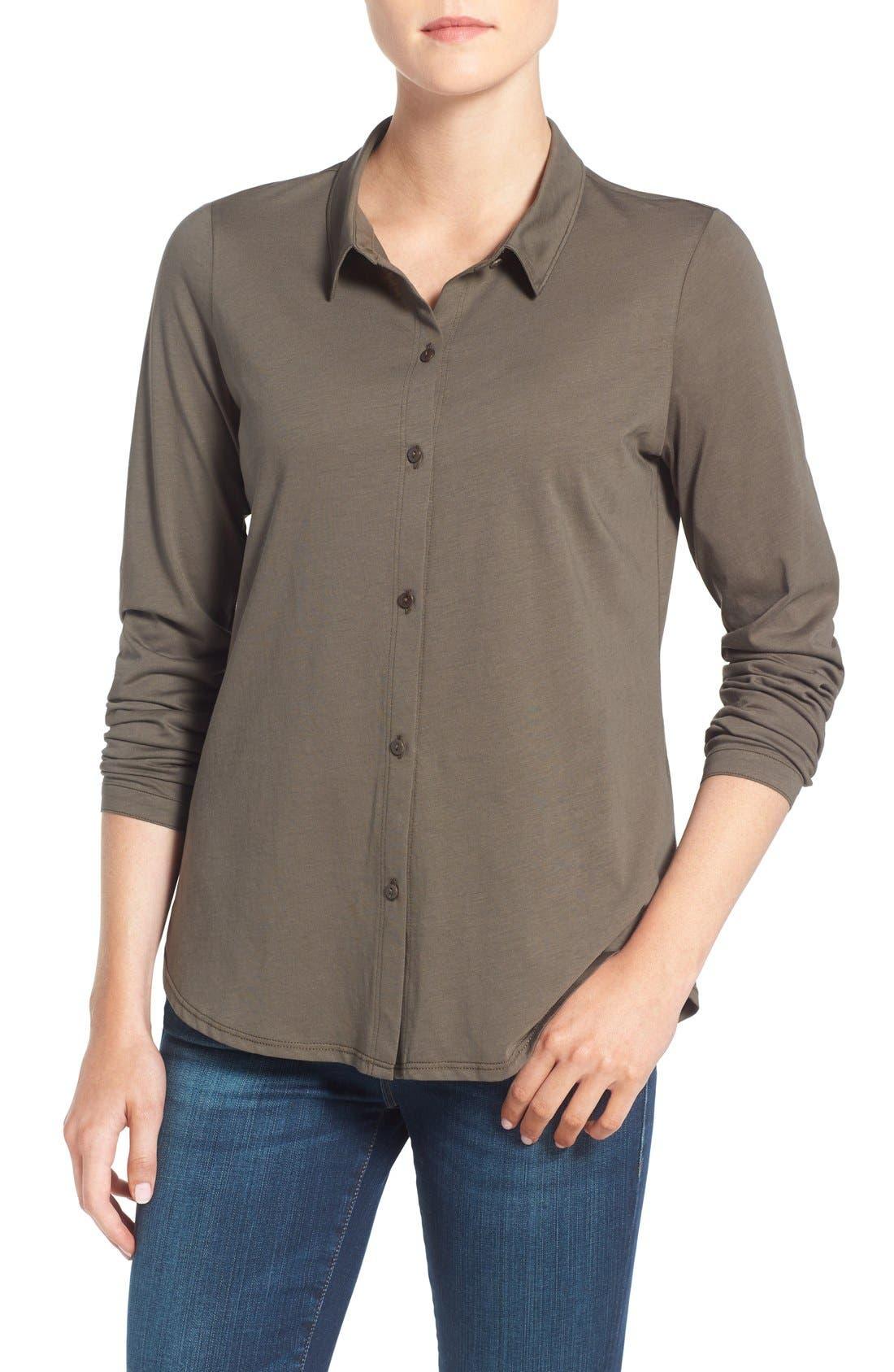 Organic Cotton Jersey Classic Collar Shirt,                             Main thumbnail 3, color,