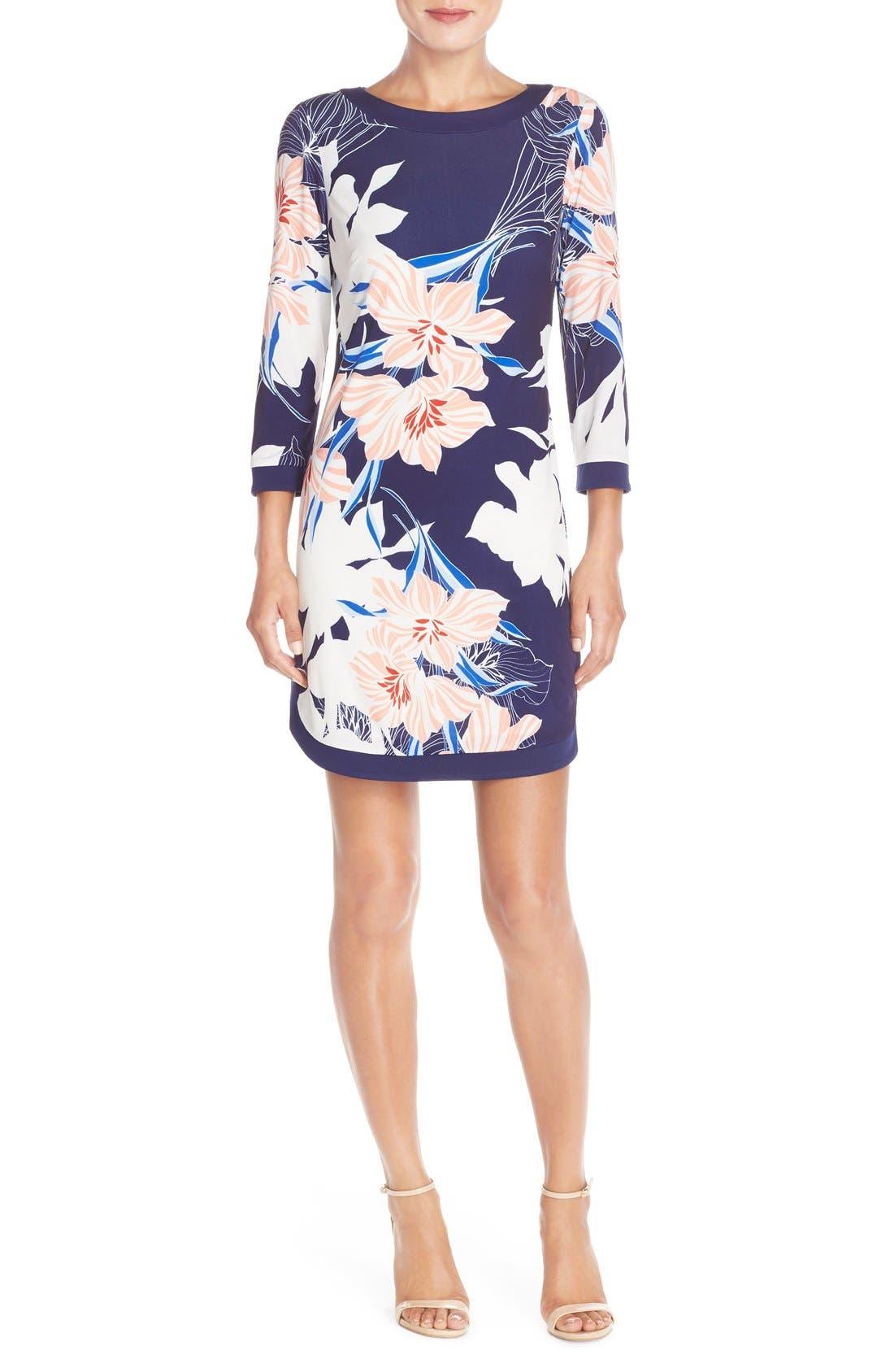 Floral Jersey Shift Dress,                             Alternate thumbnail 3, color,                             410
