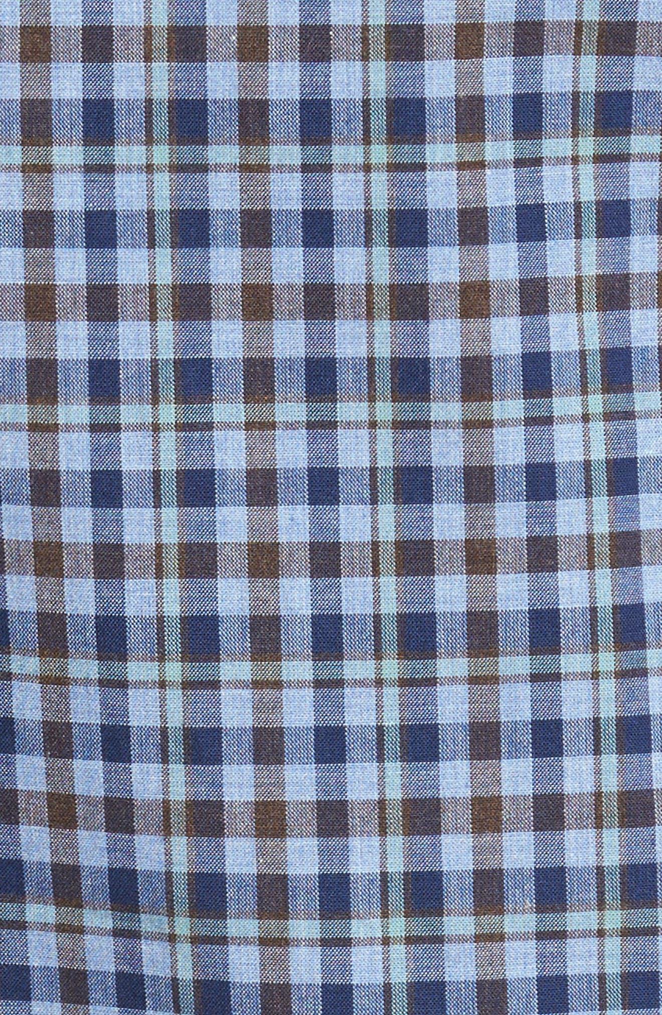 Alden Slim Fit Plaid Sport Shirt,                             Alternate thumbnail 5, color,                             400