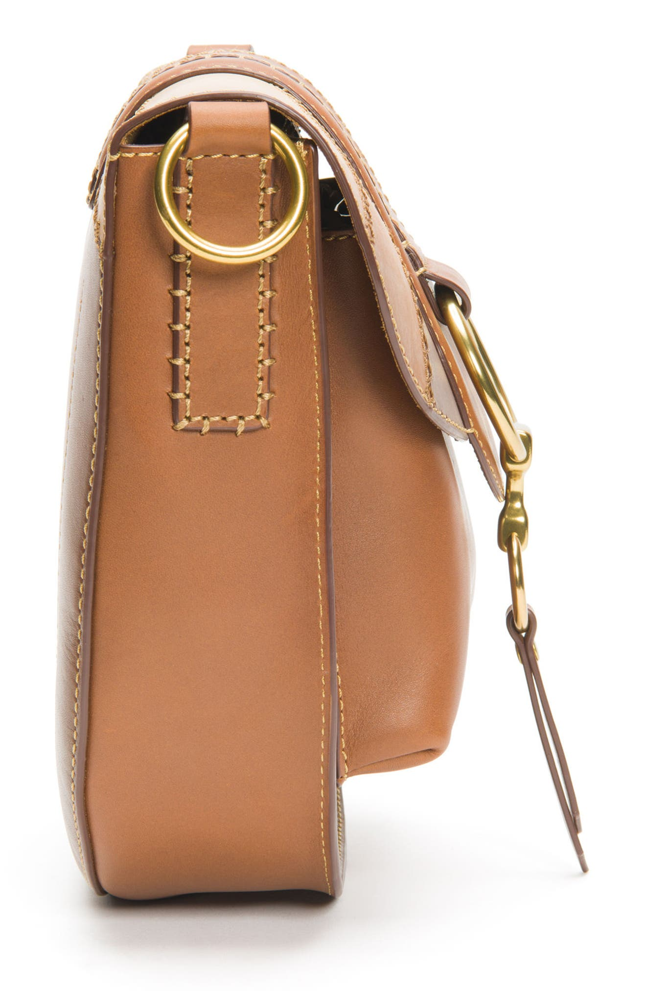 Ilana Colorblock Leather Saddle Bag,                             Alternate thumbnail 5, color,                             200