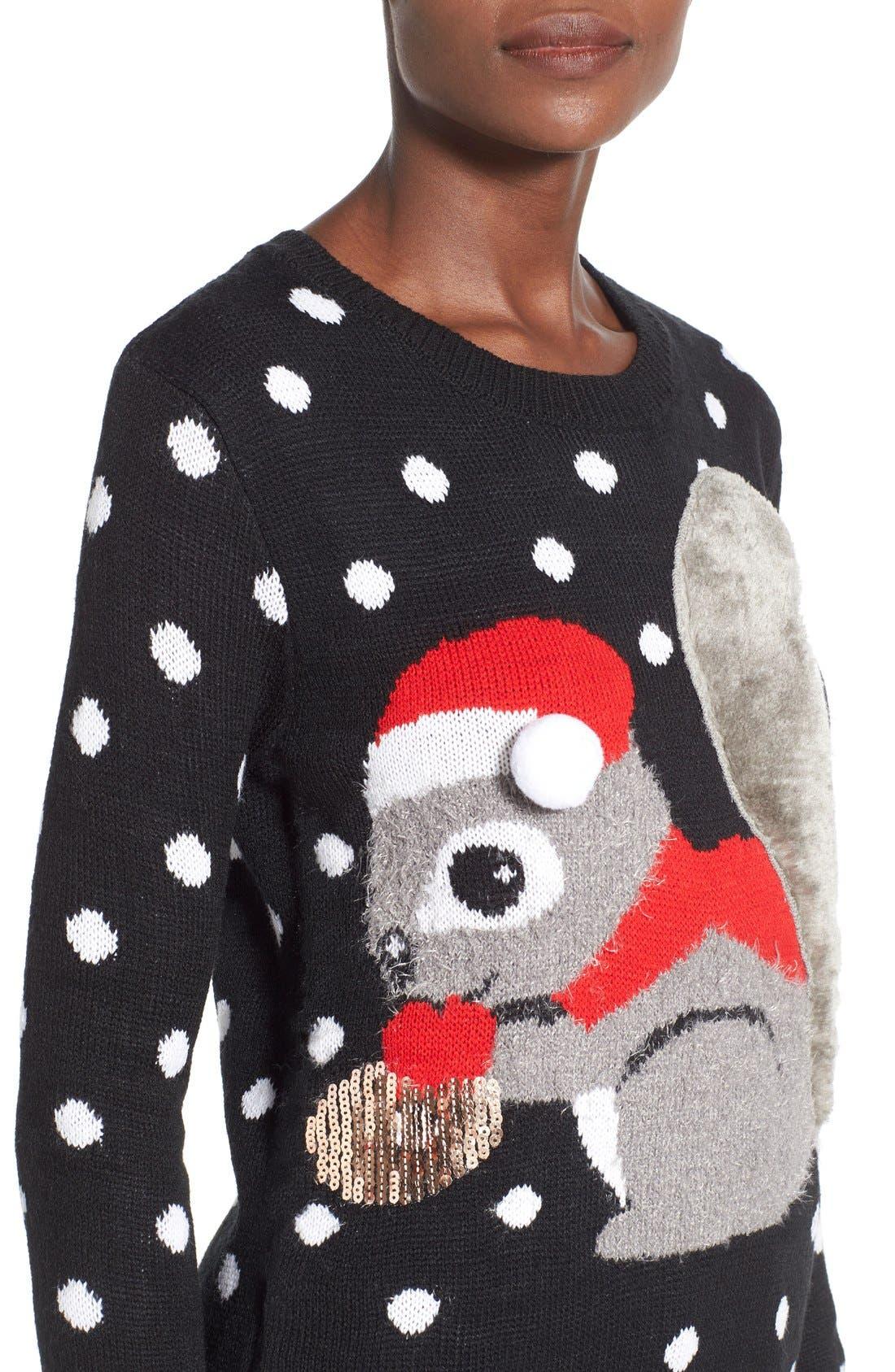 TEN SIXTY SHERMAN,                             Squirrel Christmas Sweater,                             Alternate thumbnail 5, color,                             001
