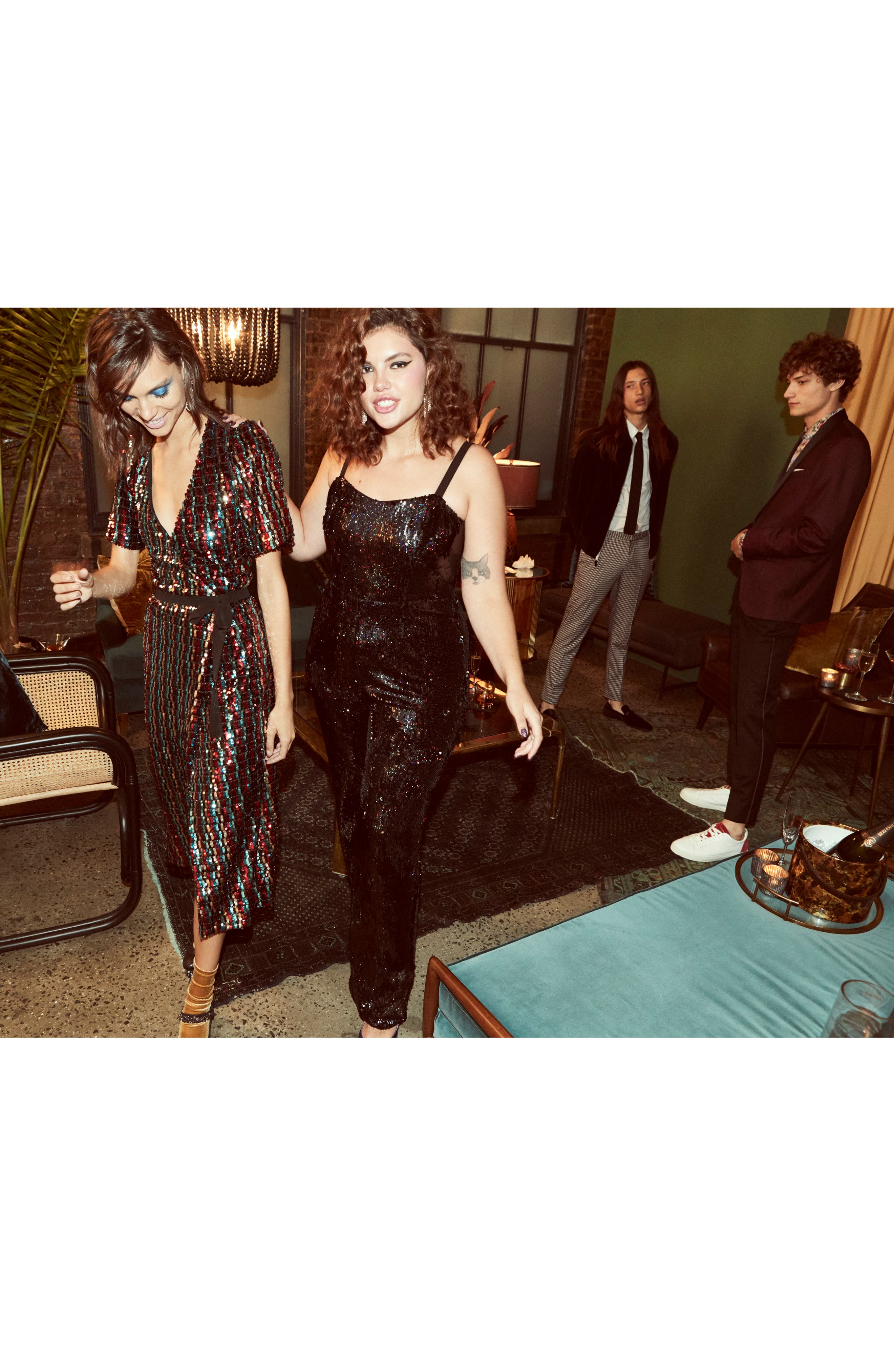 Victoria Sequin Jumpsuit,                             Alternate thumbnail 13, color,                             BLACK PEARL