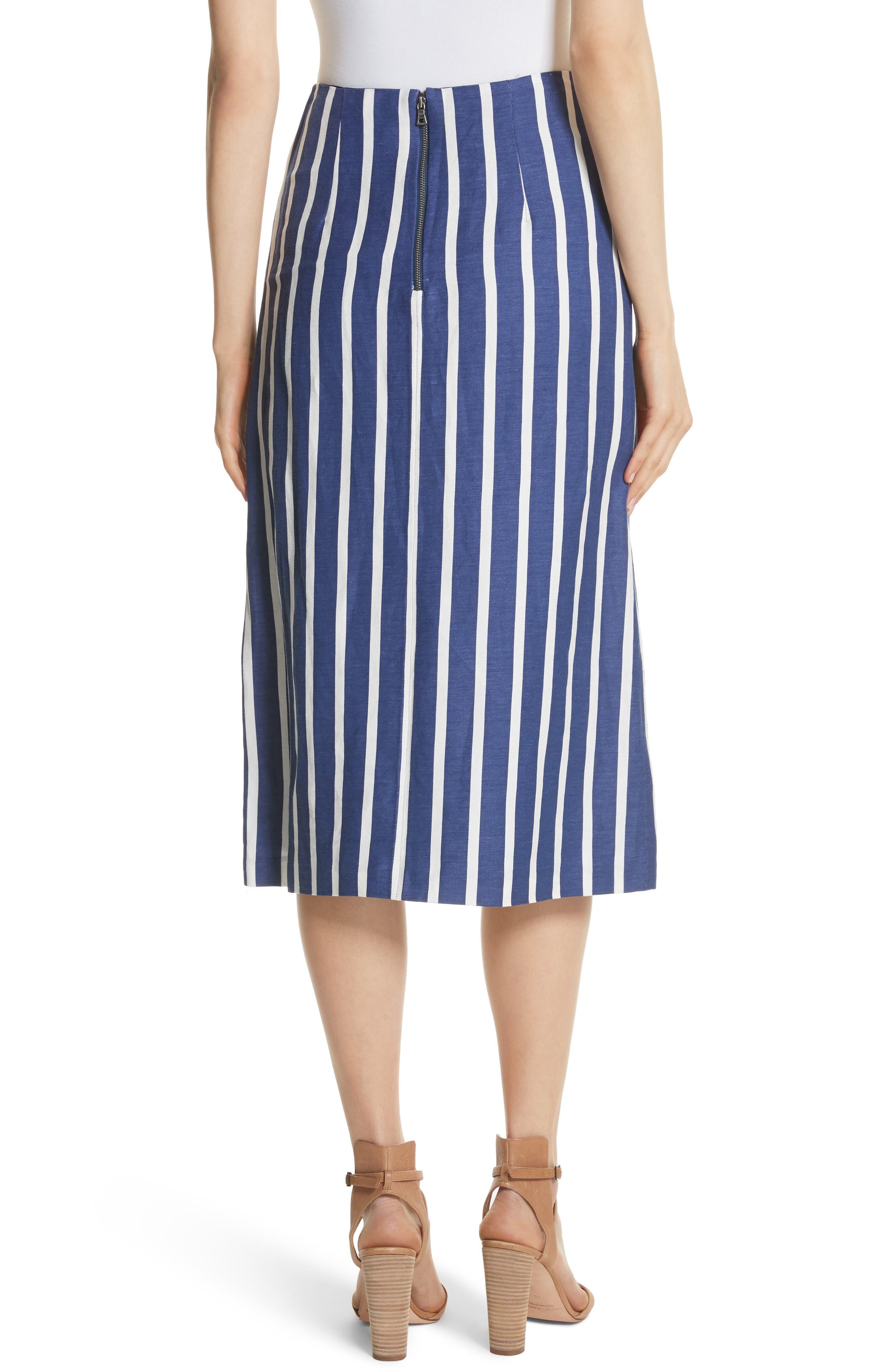 Sabrena Stripe Front Slit Linen Blend Midi Skirt,                             Alternate thumbnail 2, color,                             475