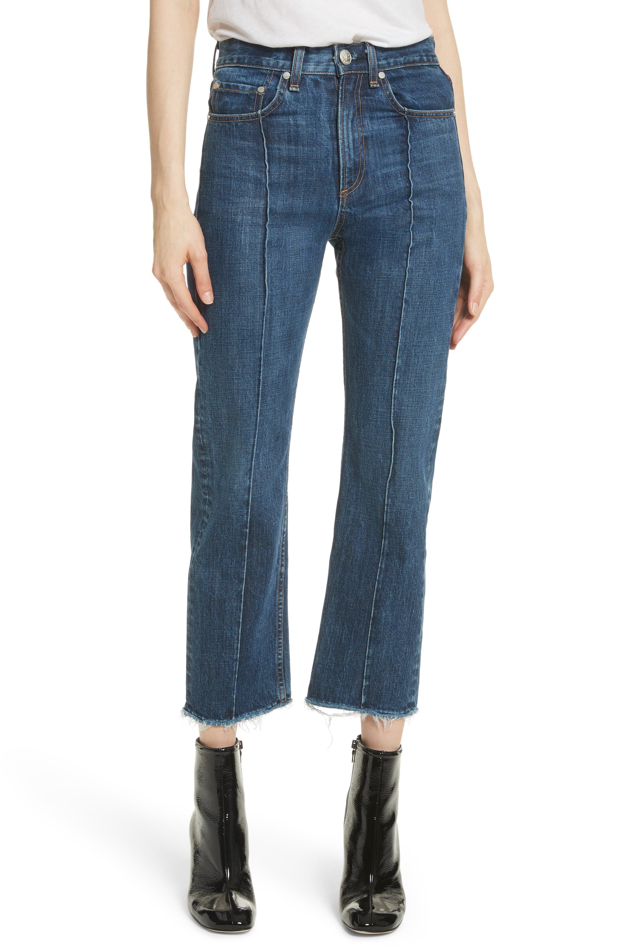 High Waist Ankle Straight Leg Jeans,                         Main,                         color, 418