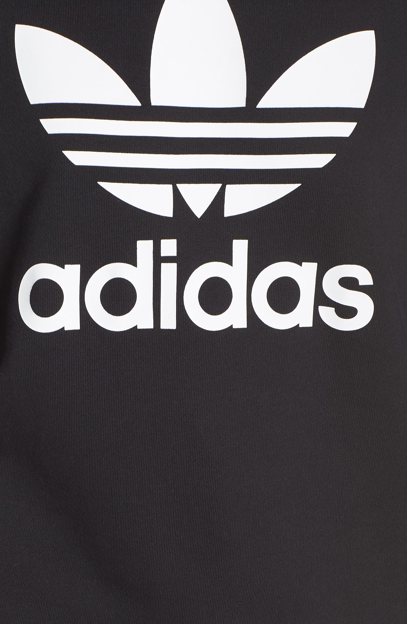 ADIDAS ORIGINALS,                             Trefoil Sweatshirt,                             Alternate thumbnail 6, color,                             BLACK
