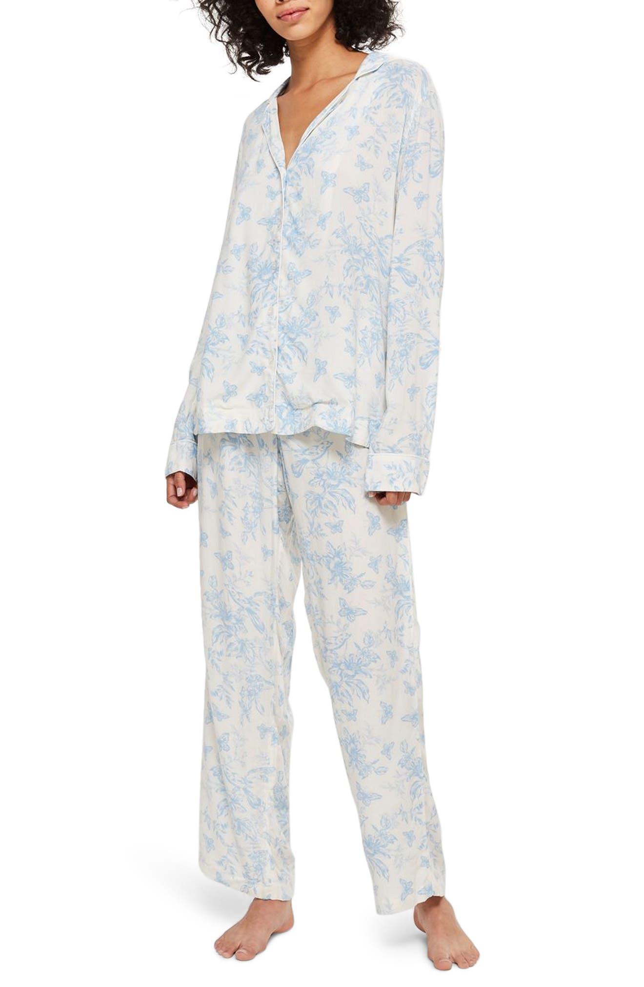 French Bird Pajamas,                             Main thumbnail 1, color,                             LIGHT BLUE