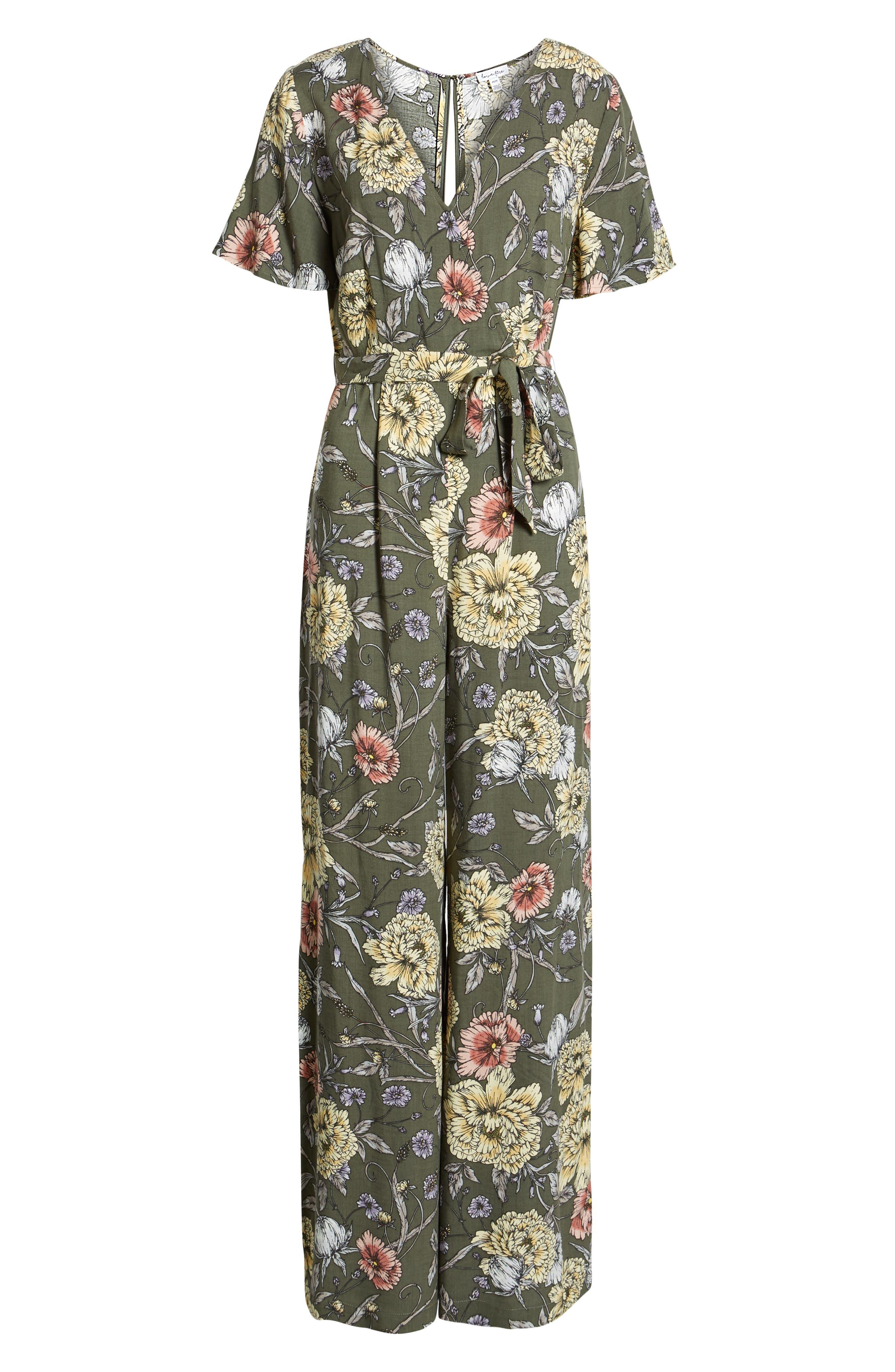 Floral Print Tie Waist Jumpsuit,                             Alternate thumbnail 7, color,                             OLIVE FLORAL