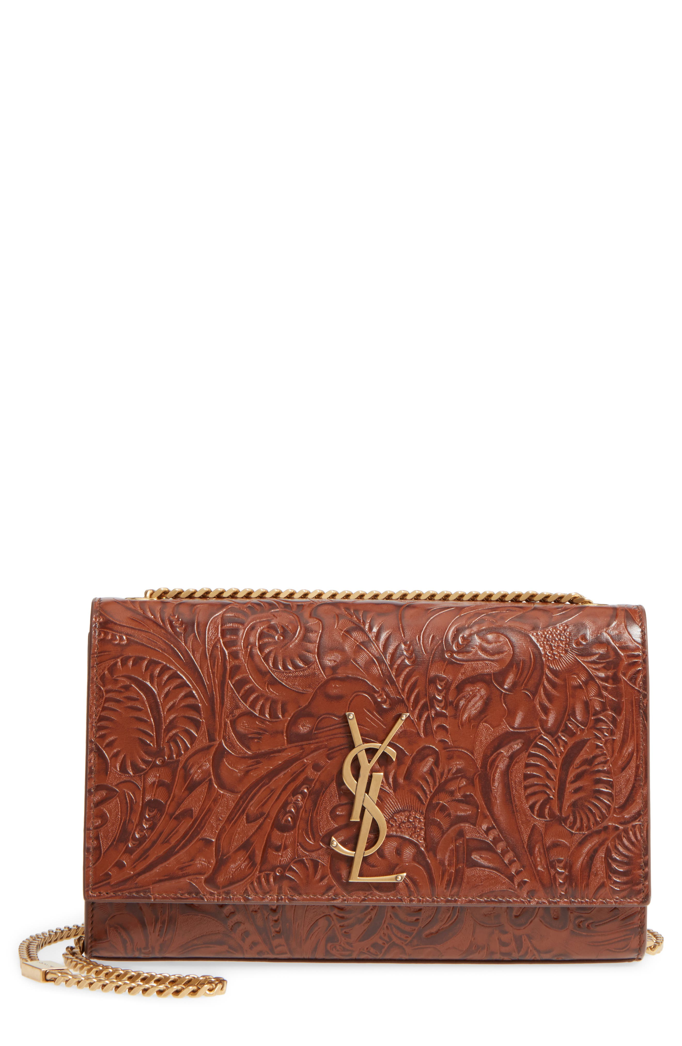 Medium Kate Floral Tooling Embossed Leather Crossbody Bag,                             Main thumbnail 1, color,                             233