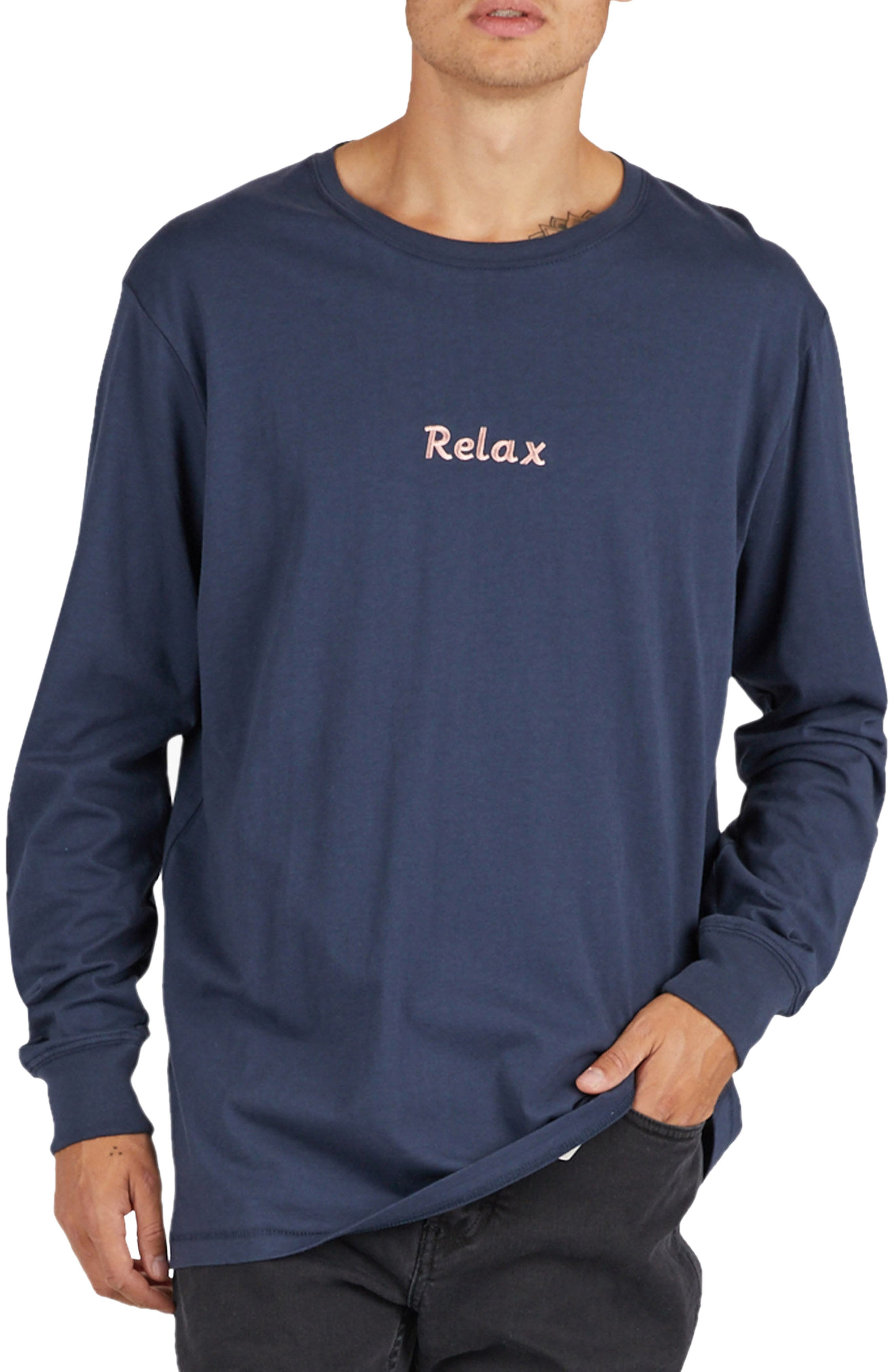 Relax Embroidered Long Sleeve T-Shirt,                             Alternate thumbnail 6, color,                             415