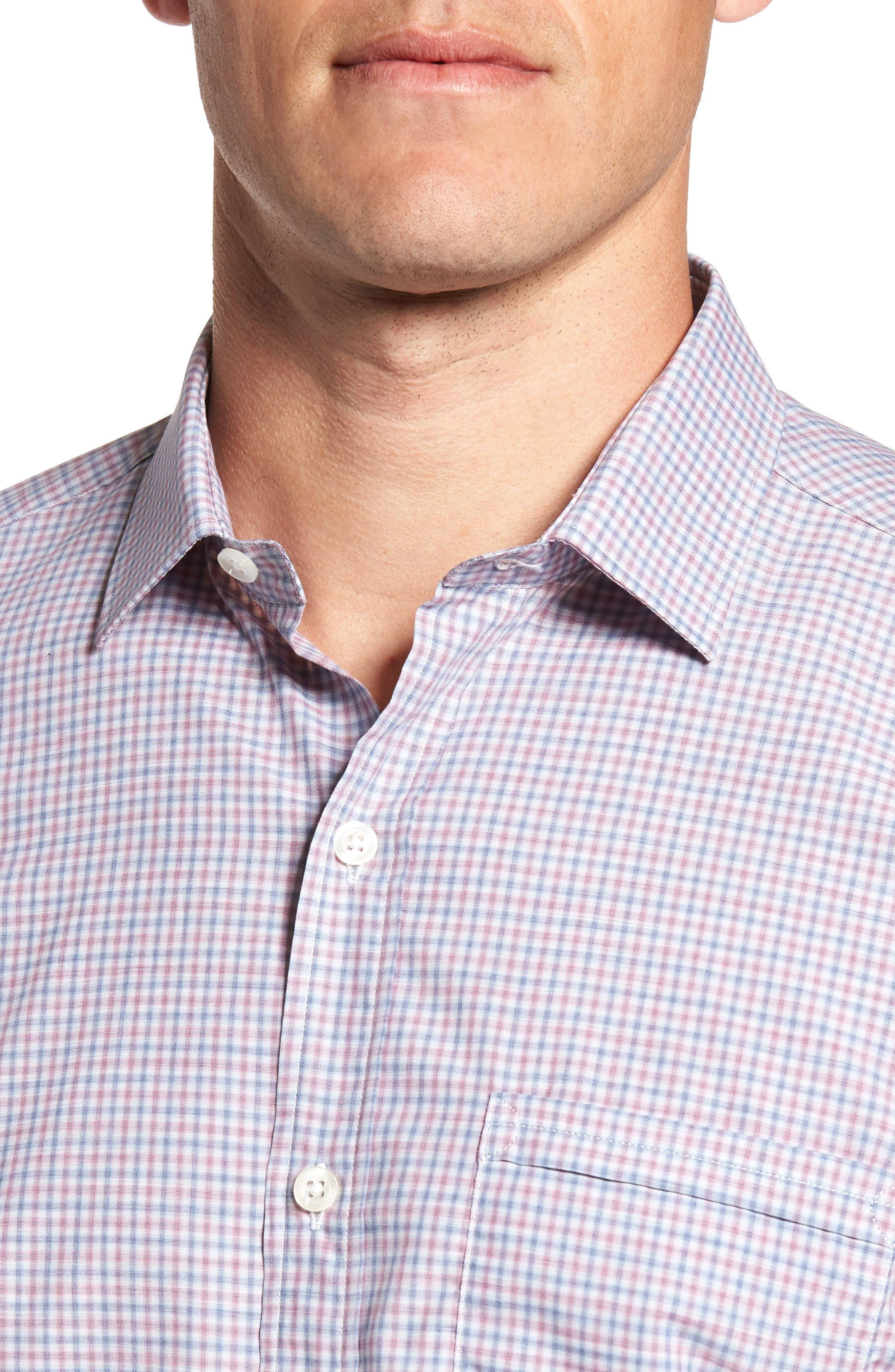 Trim Fit Mini Plaid Sport Shirt,                             Alternate thumbnail 4, color,                             650