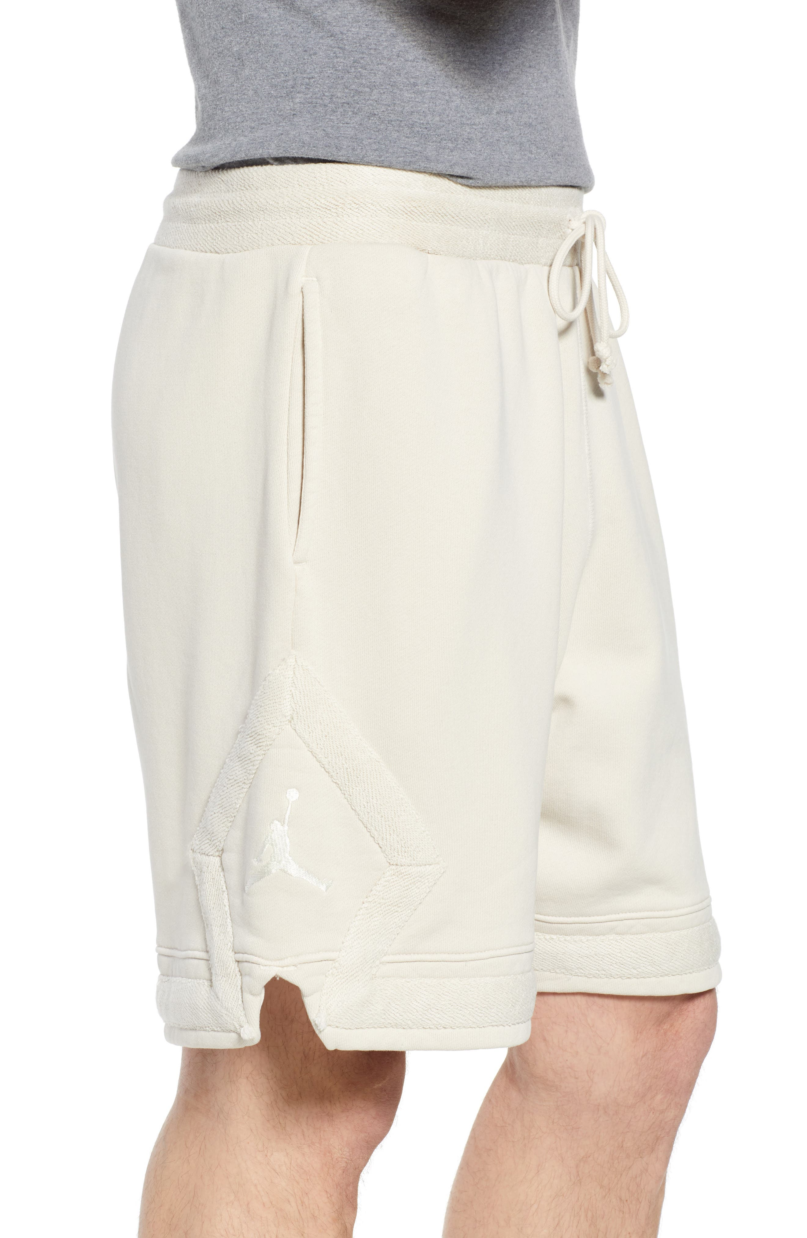 Washed Cotton Diamond Logo Shorts,                             Alternate thumbnail 3, color,                             LIGHT BONE