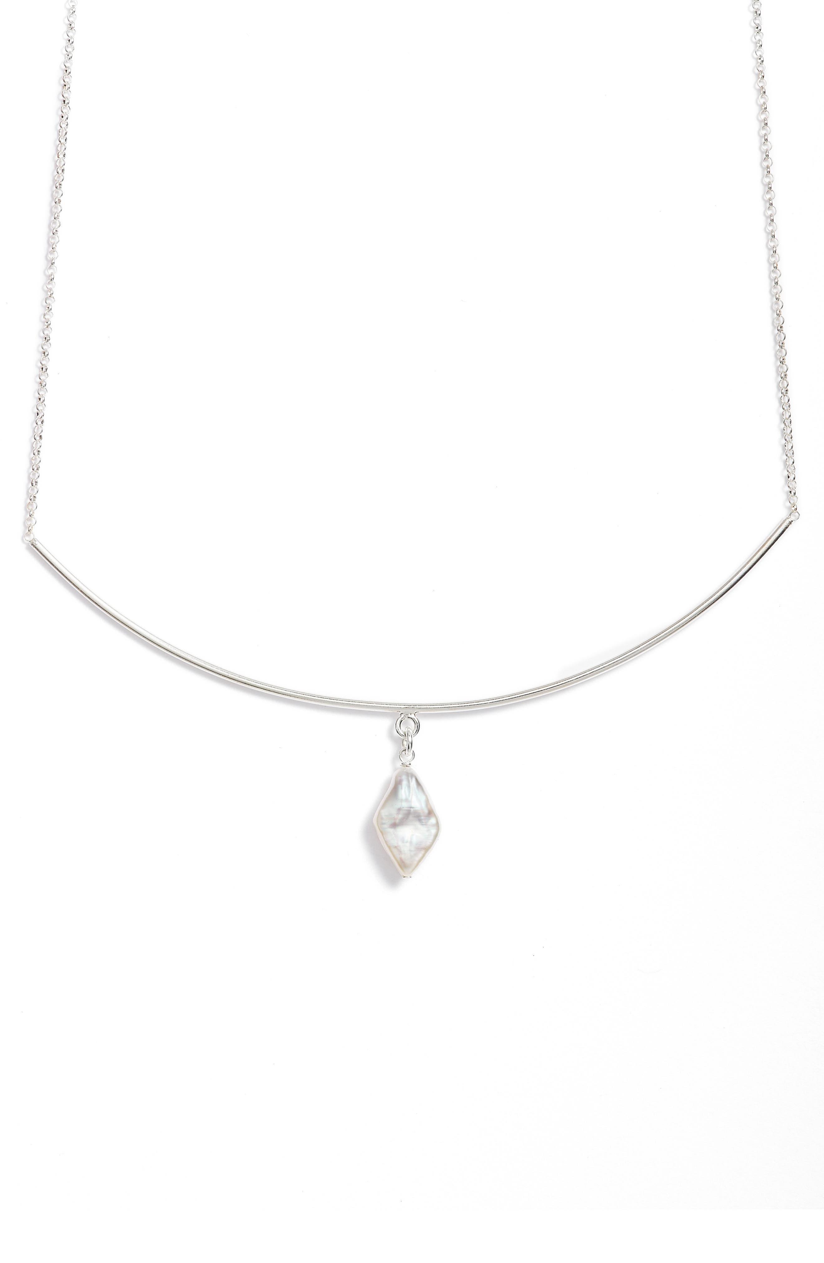 Balance Pearl Bar Necklace,                             Alternate thumbnail 3, color,                             040