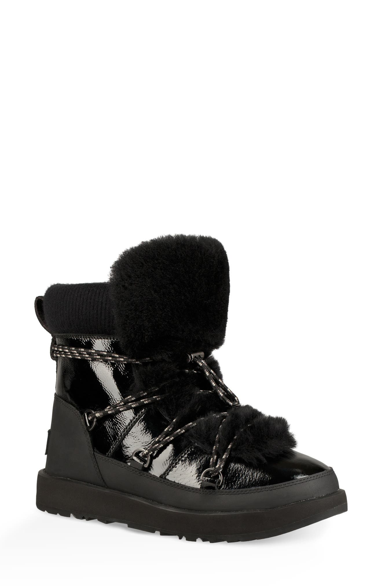 Highland Waterproof Patent/Shearling Lace-Up Boots in Black Leather