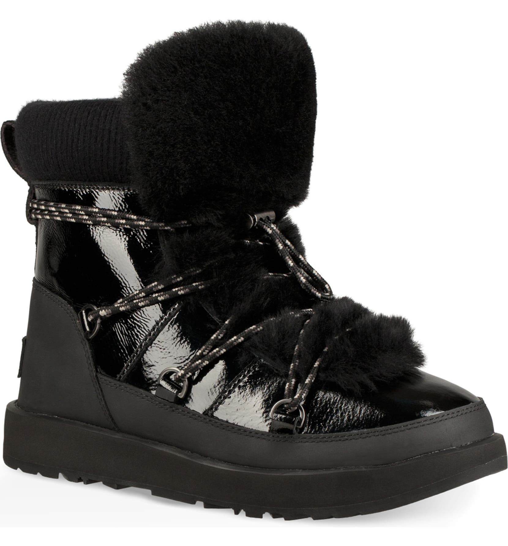 Highland Genuine Shearling Waterproof Bootie, Main, color, BLACK LEATHER