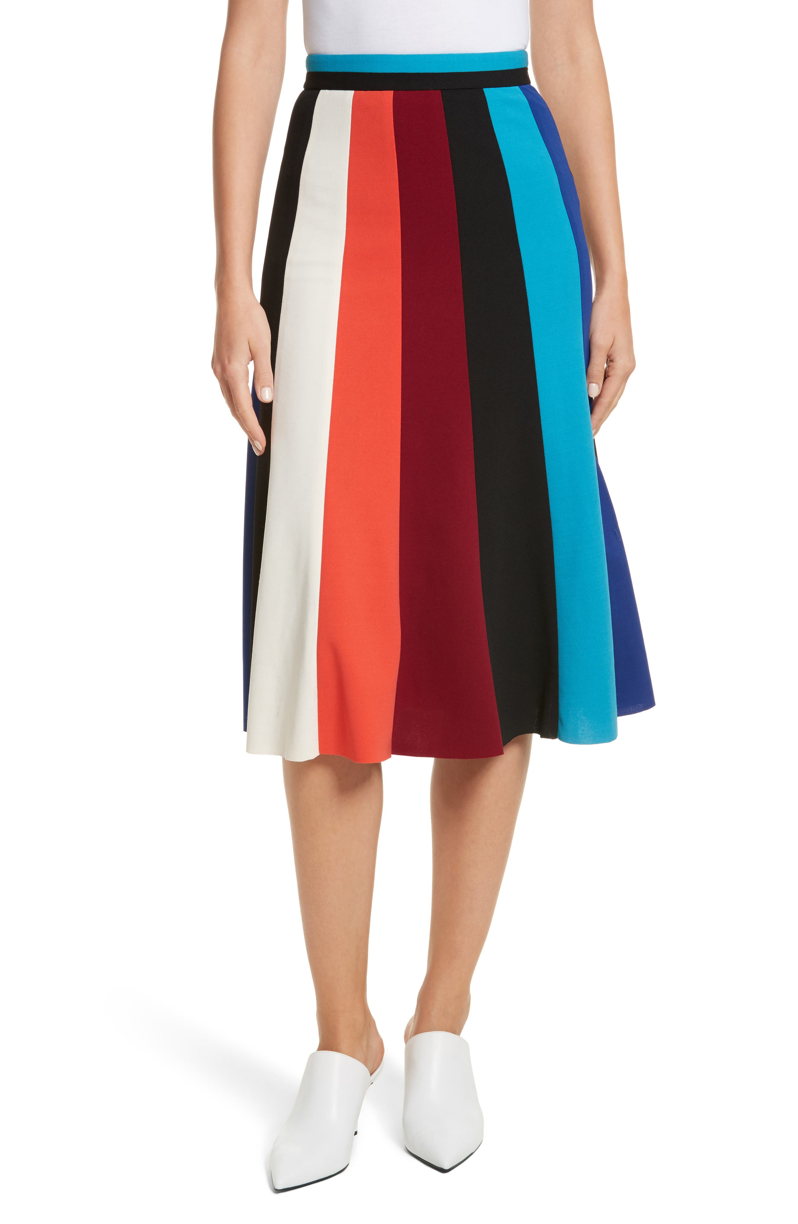 Colorblock Stripe Flared Skirt,                             Main thumbnail 1, color,                             498