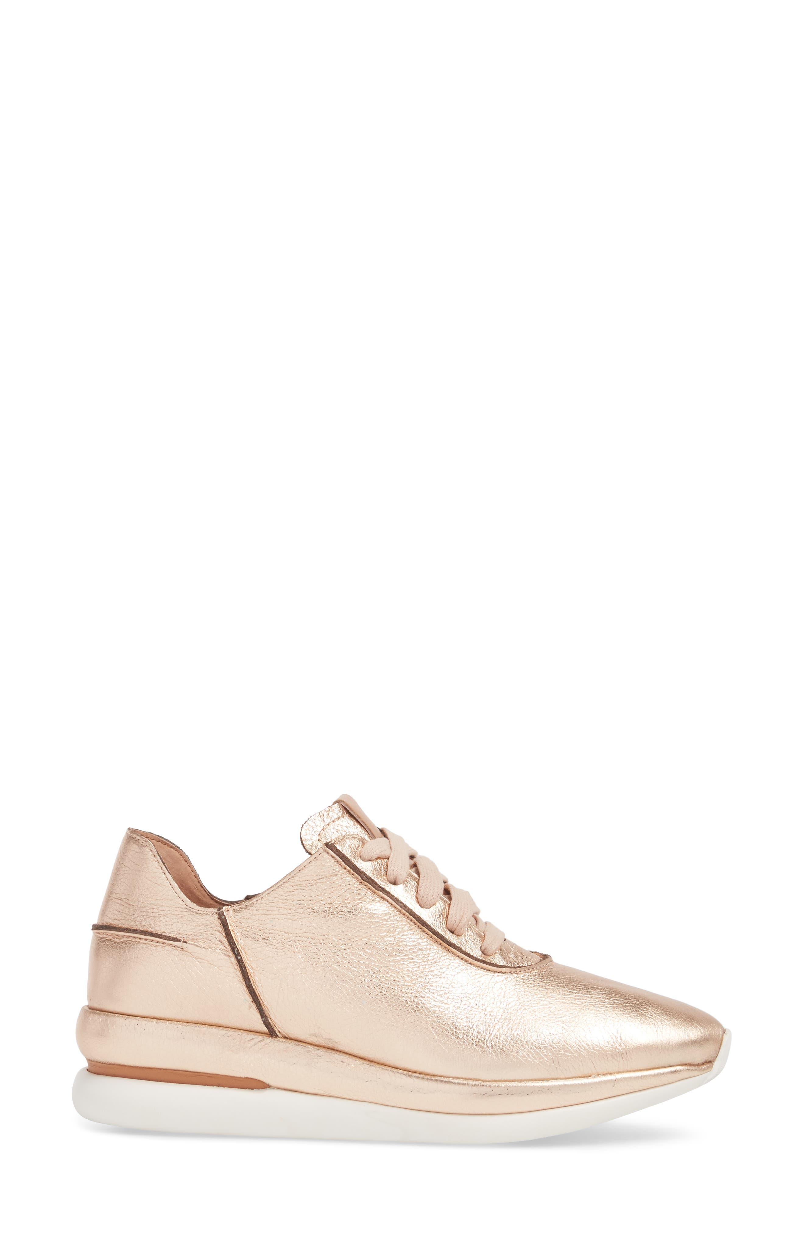 Raina Sneaker,                             Alternate thumbnail 3, color,                             ROSE GOLD METALLIC LEATHER
