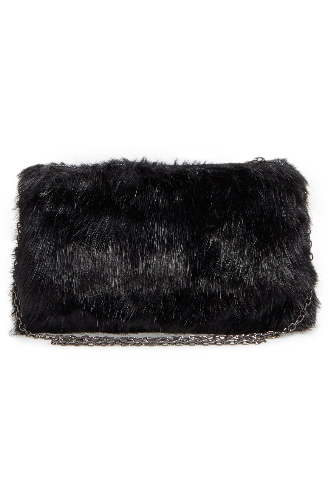 Faux Fur Clutch,                             Alternate thumbnail 7, color,                             001