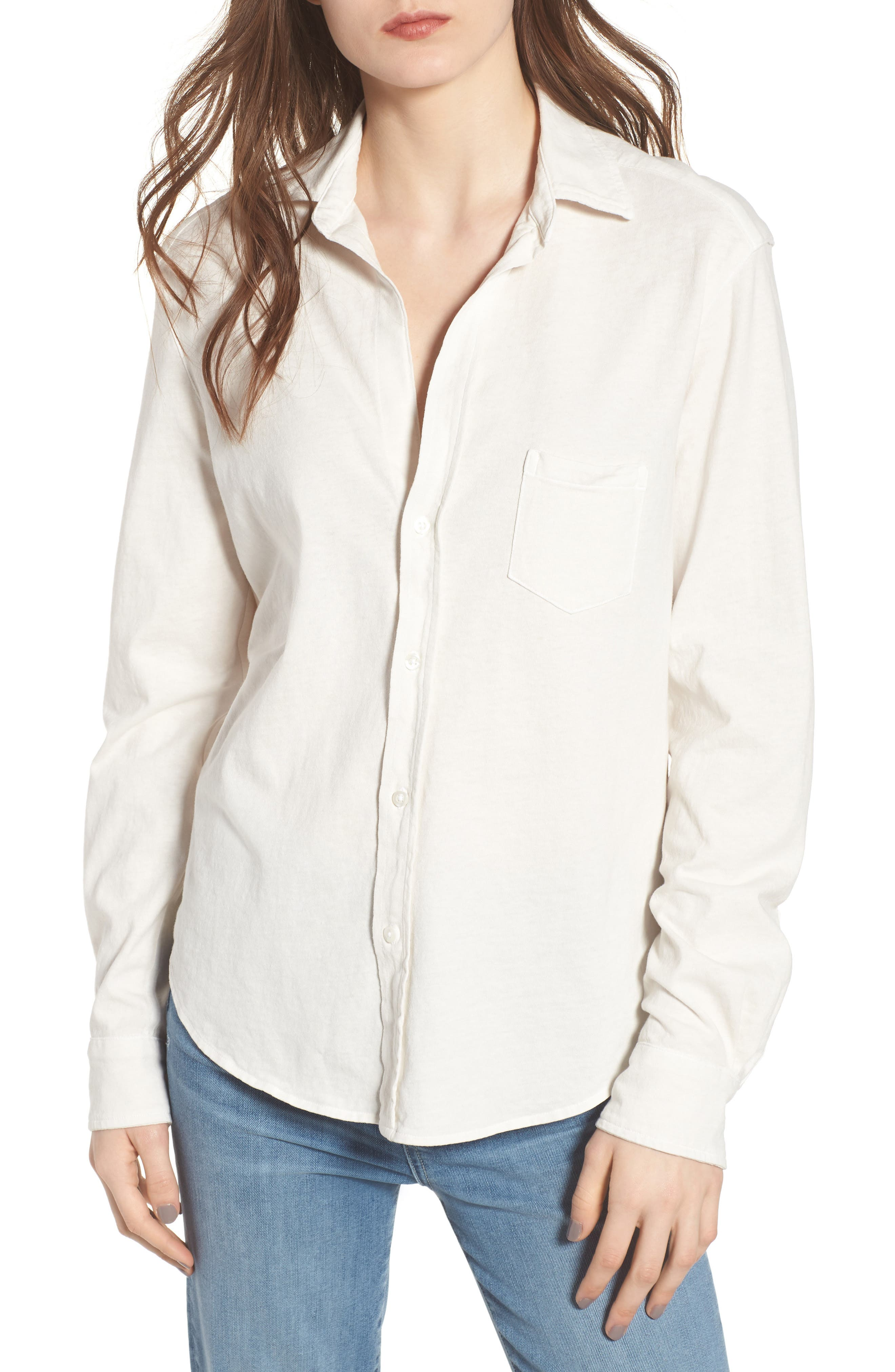 Eileen Jersey Button Front Shirt,                             Main thumbnail 1, color,                             VINTAGE WHITE