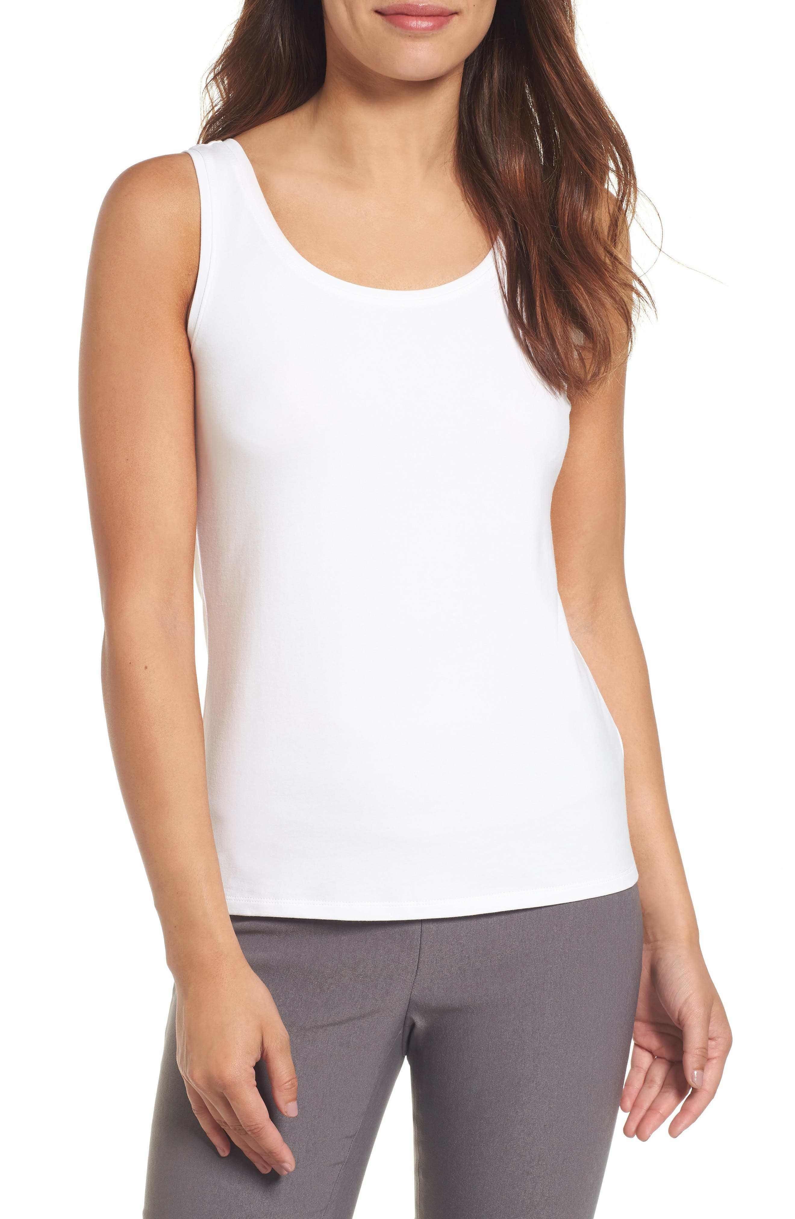 NIC + ZOE Perfect Jersey Scoop-Neck Tank, Petite in New Paper White