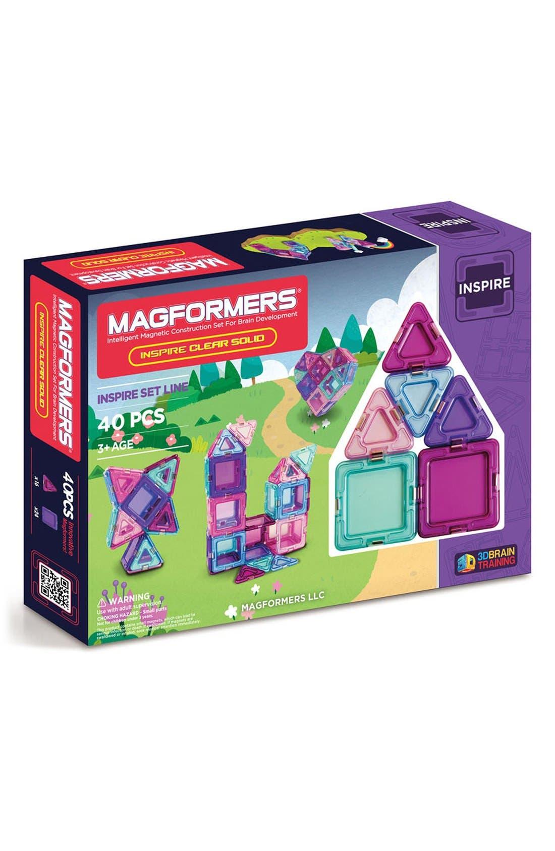 'Inspire - Solids' Clear Magnetic 3D Construction Set,                             Main thumbnail 1, color,                             440