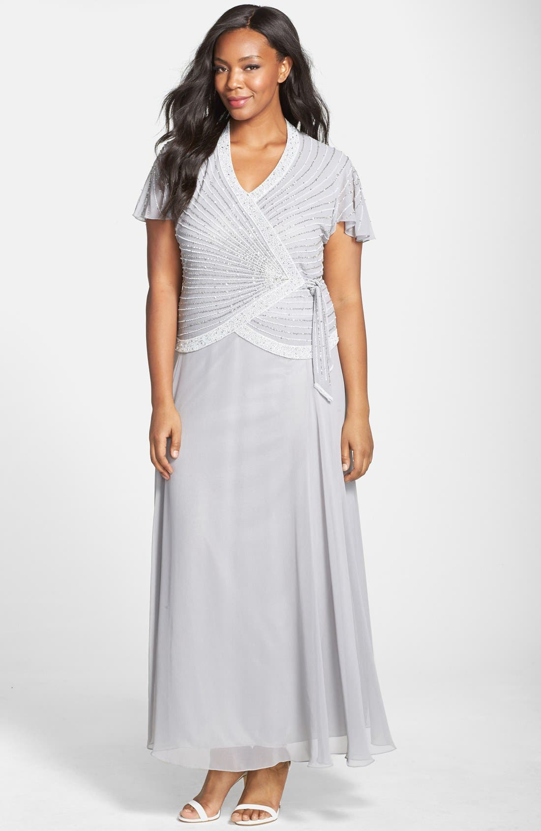 Embellished Mock Two Piece Gown,                             Main thumbnail 1, color,                             060