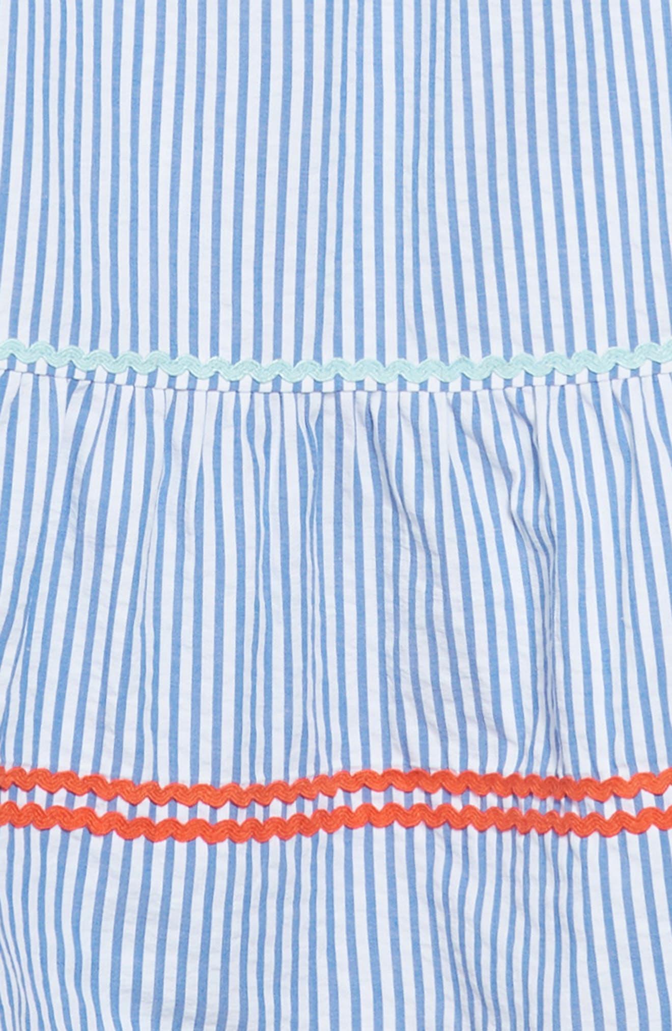 Bardot Rickrack Seersucker Dress,                             Alternate thumbnail 3, color,                             400