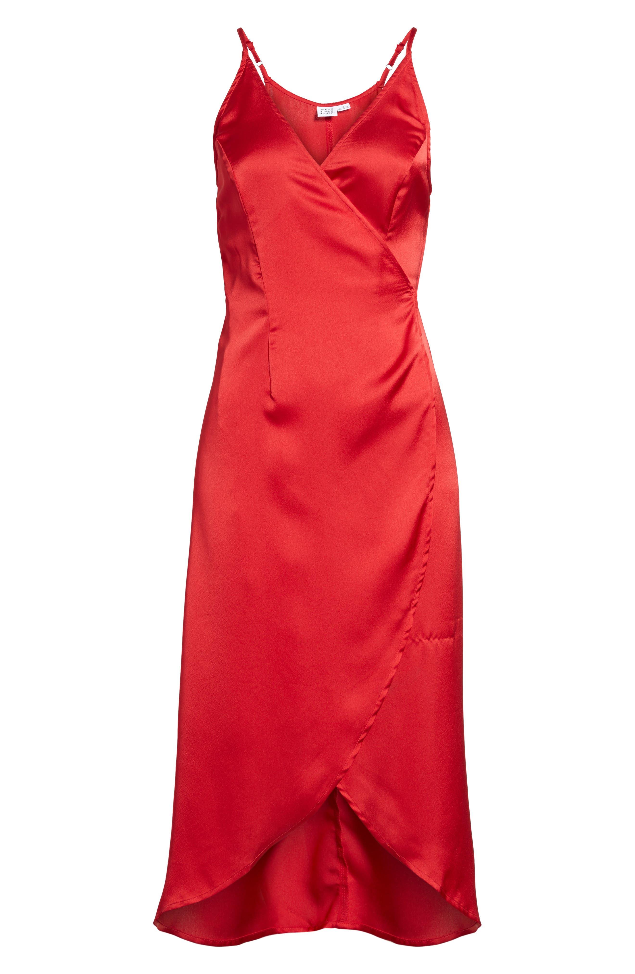 Evening Sun Satin Wrap Dress,                             Alternate thumbnail 6, color,                             600