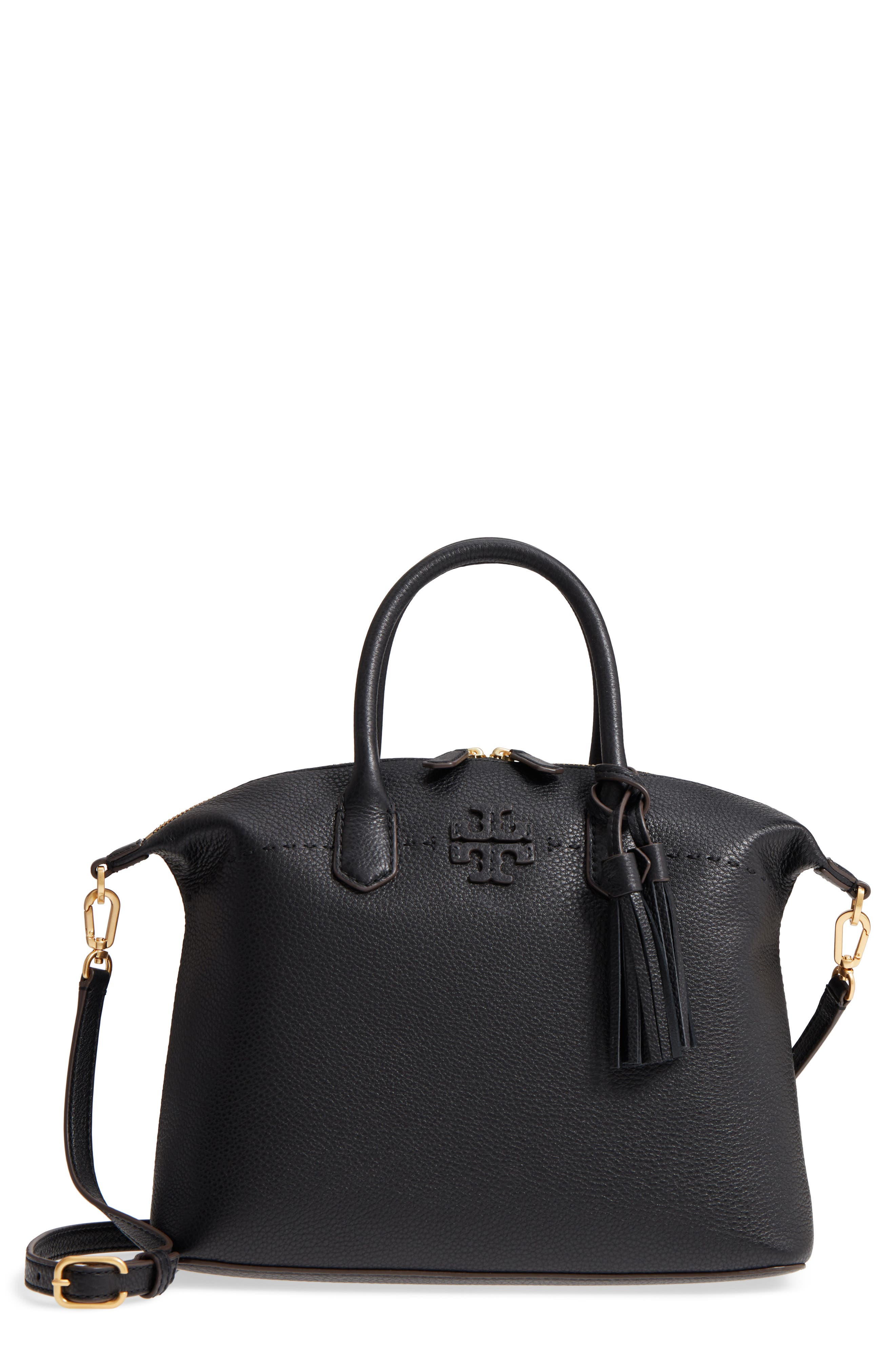 TORY BURCH,                             McGraw Slouchy Leather Satchel,                             Main thumbnail 1, color,                             BLACK