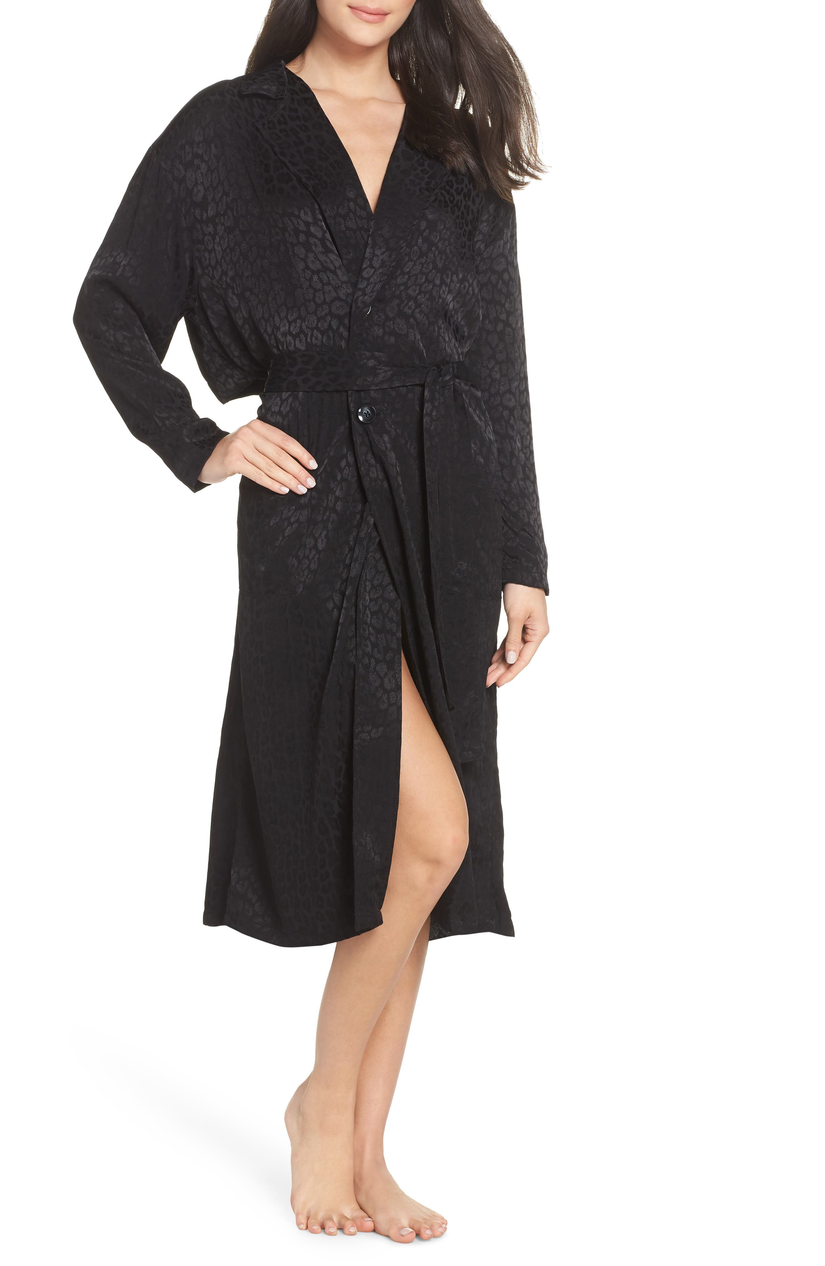 Leopard Trench Robe,                             Main thumbnail 1, color,                             BLACK