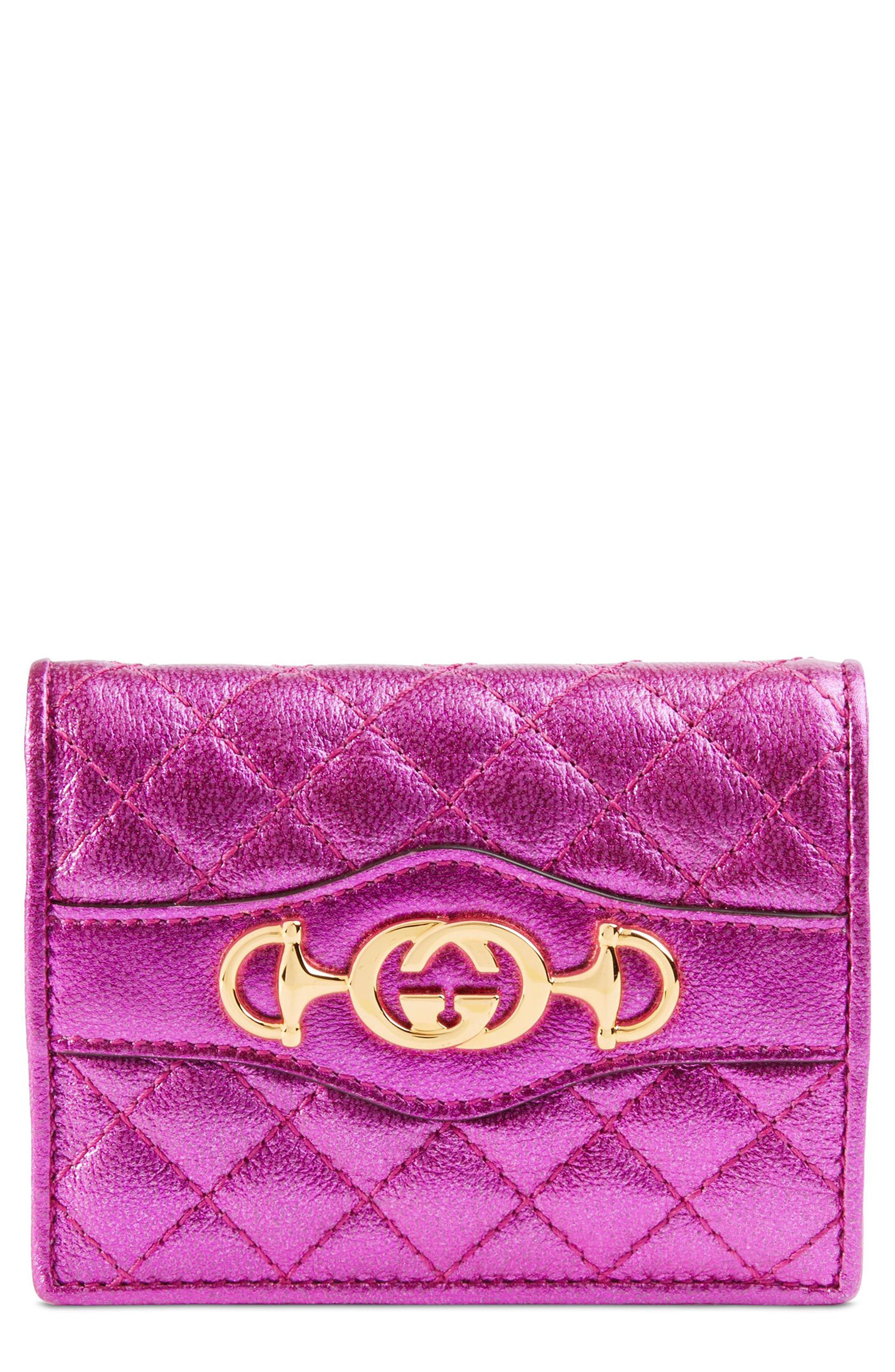 Quilted Leather Card Case,                             Main thumbnail 1, color,                             FUXIA
