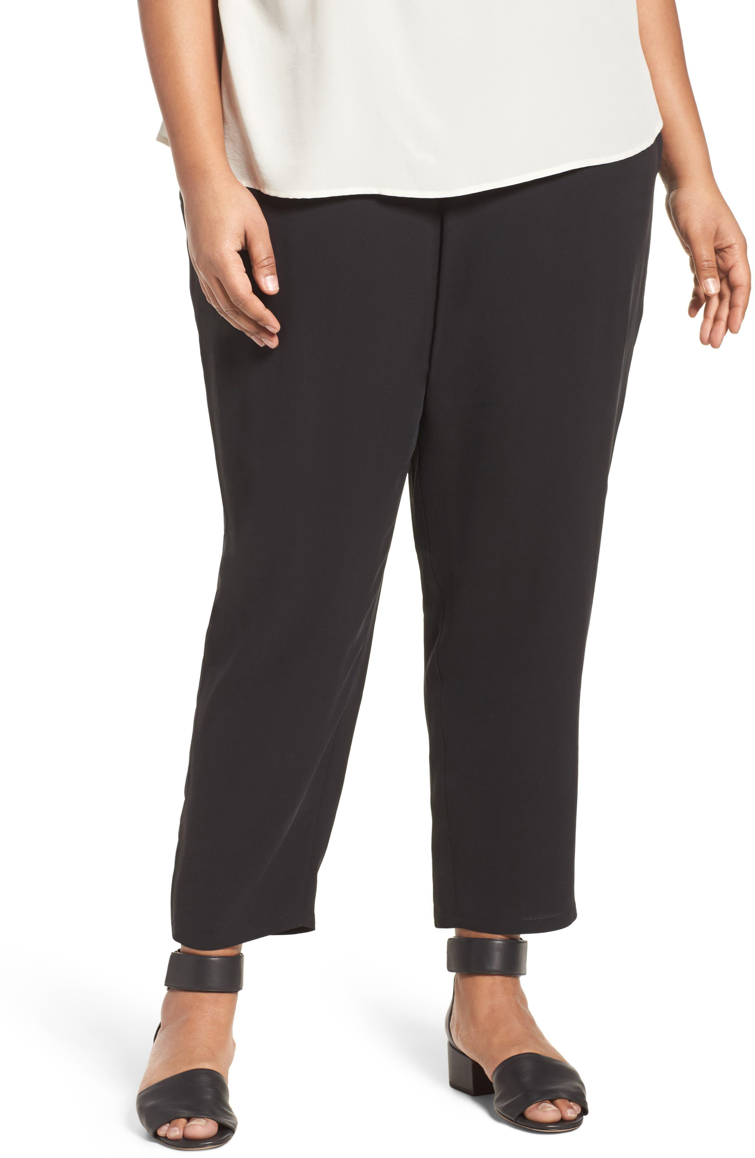 Silk Georgette Crepe Ankle Pants,                         Main,                         color, 001